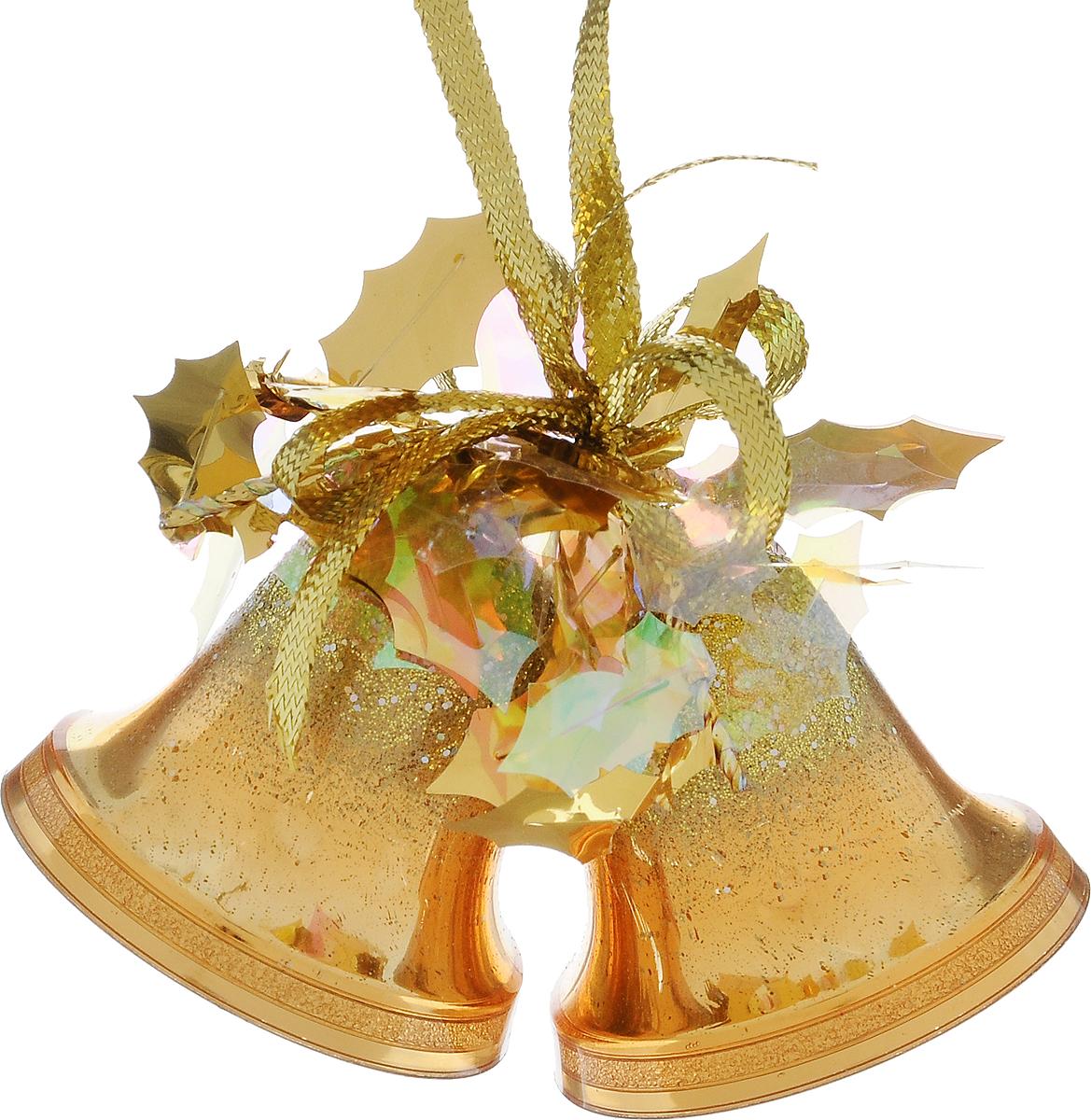 Украшение новогоднее подвесное Weiste Двойные колокольчики, цвет: золотой, высота 6 см5531Новогоднее подвесное украшение Weiste Двойные колокольчики выполнено из пластика и ПВХ. Изделие оформлено блестками. С помощью специальной петельки украшение можно повесить в любом понравившемся вам месте. Но, конечно, удачнее всего оно будет смотреться на праздничной елке. Елочная игрушка - символ Нового года. Она несет в себе волшебство и красоту праздника. Создайте в своем доме атмосферу веселья и радости, украшая новогоднюю елку нарядными игрушками, которые будут из года в год накапливать теплоту воспоминаний. Размер колокольчика: 5 х 5 х 5 см. Общий размер украшения: 5 х 6 х 10 см.