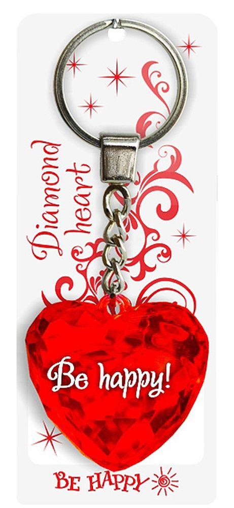 Брелок Be Happy Диамантовое сердце. Be happy!20Оригинальный брелок Be Happy Диамантовое сердце, изготовленный из высококачественного пластика, станет отличным подарком. Это не только приятный, но и практичный сувенир для каждодневного использования, ведь такое хрустальное сердце - не просто брелок, а модный аксессуар. Брелоком можно украсить сумочку, детскую коляску или повесить на ключи. Переливающиеся грани и блестящая поверхность создадут гламурный образ. Длина цепочки - 4 см. Диаметр кольца - 2 см.