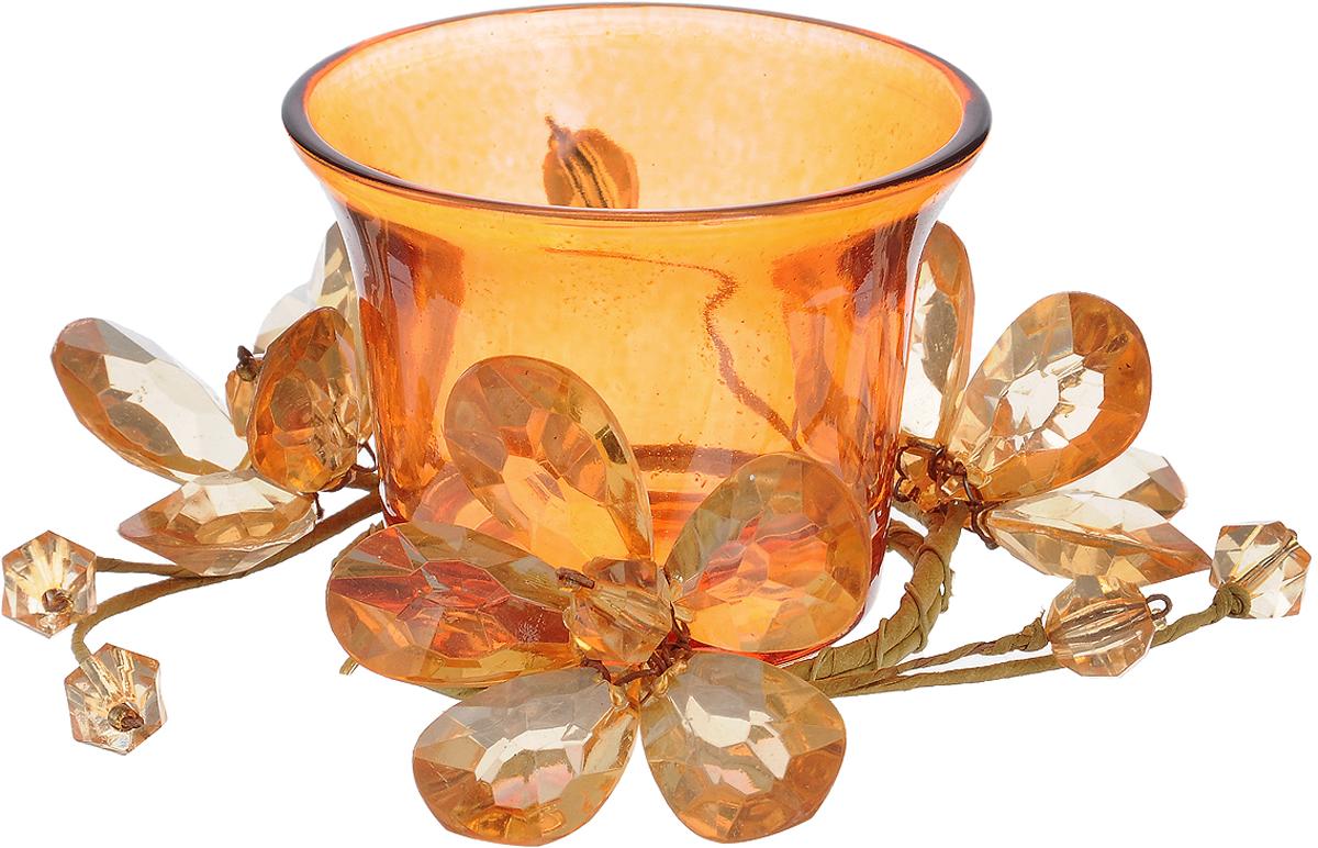 Подсвечник Lovemark, цвет: оранжевый. 5A2017 Or5A2017 OrПодсвечник Lovemark представляет собой стеклянную емкость для чайной свечи, оформленную изысканным декоративным элементом в виде плетеной веточки с цветами. Такой подсвечник элегантно оформит интерьер вашего дома. Мерцание свечи создаст атмосферу романтики и уюта. Диаметр емкости (по верхнему краю): 6,5 см. Высота емкости: 5 см.