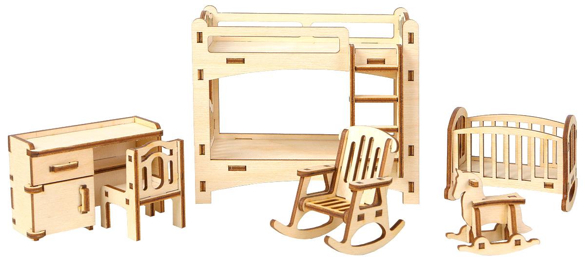 Большой Слон Мебель для кукол ДетскаяМ-002Мебель для кукол Большой Слон Детская будет замечательно смотреться в кукольном домике. Набор, выполненный из натурального дерева, надолго займет внимание вашей малышки. Набор включает в себя: письменный стол, двухъярусную кровать, маленькую кроватку, стул, кресло-качалку и игрушку-качалку. Вся мебель из набора выполнена из натурального дерева и требует сборки. В коробке вы найдете резные элементы для сборки мебели и схематичную инструкцию. При сборке мебели развивается мелкая моторика рук, а при игре - воображение и фантазия ребенка. Такой набор подойдет небольшим куколкам вашей малышки. Порадуйте свою принцессу таким замечательным подарком!