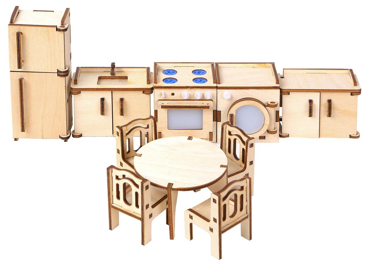 Большой Слон Мебель для кукол КухняМ-003Мебель для кукол Большой Слон Кухня - отличное место, где могут собираться, принимать гостей и готовить вкусные обеды куклы девочек. Набор, выполненный из натурального дерева, надолго займет внимание вашей малышки. Набор включает в себя: газовую плиту, стиральную машину, холодильник, кухонные шкафчики, стол, 4 стула и мойку для посуды. Вся мебель из набора выполнена из натурального дерева и требует сборки. В коробке вы найдете резные элементы для сборки мебели и схематичную инструкцию. При сборке мебели развивается мелкая моторика рук, а при игре - воображение и фантазия ребенка. Такой набор подойдет небольшим куколкам вашей малышки. Порадуйте свою принцессу таким замечательным подарком!