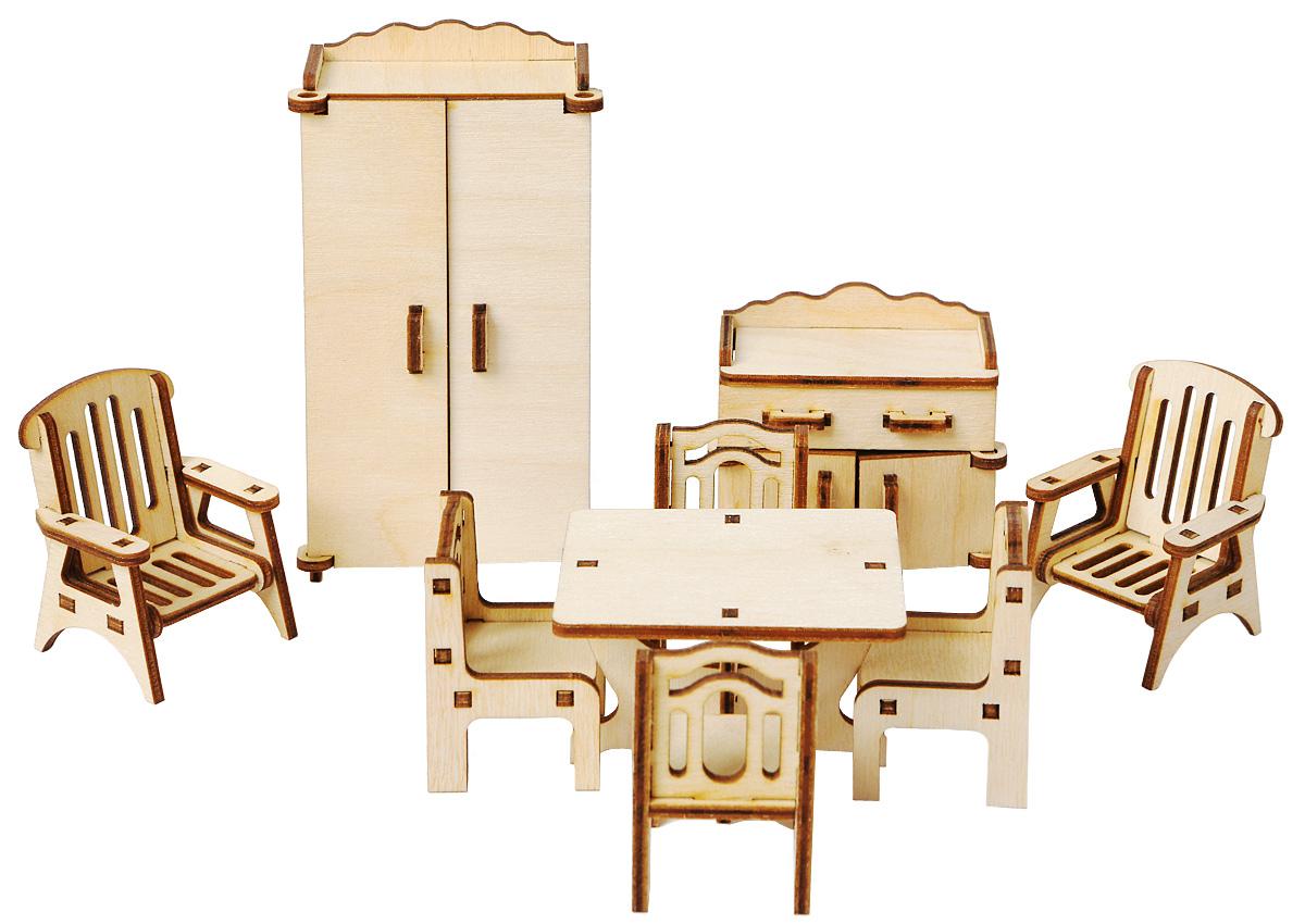 Большой Слон Мебель для кукол ГостинаяМ-005Мебель для кукол Большой Слон Гостиная - отличное место, где могут собираться, принимать гостей и вести беседы куклы девочек. Набор, выполненный из натурального дерева, надолго займет внимание вашей малышки. Набор включает в себя: шкаф, 2 кресла, стол, 4 стула и тумбу под телевизор. Вся мебель из набора выполнена из натурального дерева и требует сборки. В коробке вы найдете резные элементы для сборки мебели и схематичную инструкцию. При сборке мебели развивается мелкая моторика рук, а при игре - воображение и фантазия ребенка. Такой набор подойдет небольшим куколкам вашей малышки. Порадуйте свою принцессу таким замечательным подарком!