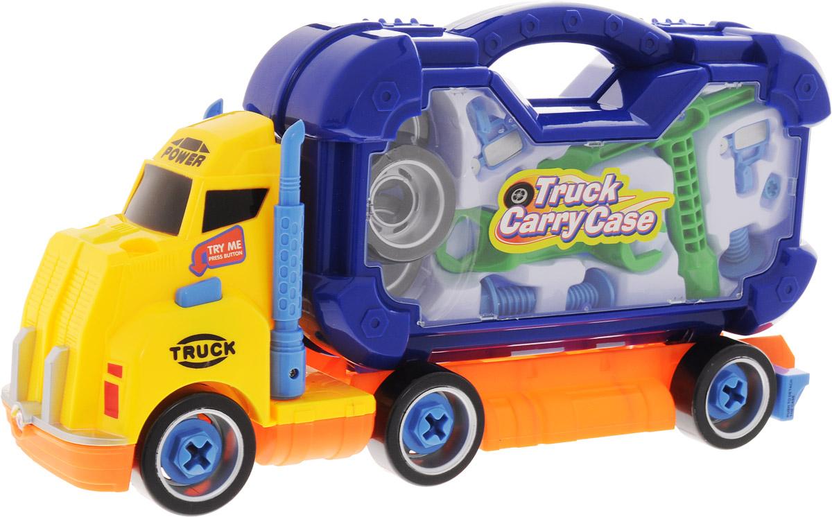 Boley Игровой набор Смелый гонщик с инструментами цвет желтый31670_желтыйИгровой набор Boley Смелый гонщик - великолепный набор для юного мастера. Набор выполнен в виде грузовика, кузовом которого является чемоданчик с прозрачными стенками. Чемоданчик содержит запасные колеса, а также все необходимые инструменты. Игрушка оснащена световыми и звуковыми эффектами, которые активируются с помощью кнопки на кабине машины. Колеса машинки свободно вращаются. Порадуйте своего ребенка таким чудесным набором! Для работы игрушки необходимы 3 батарейки типа AG13 напряжением 1,5V (товар комплектуется демонстрационными).