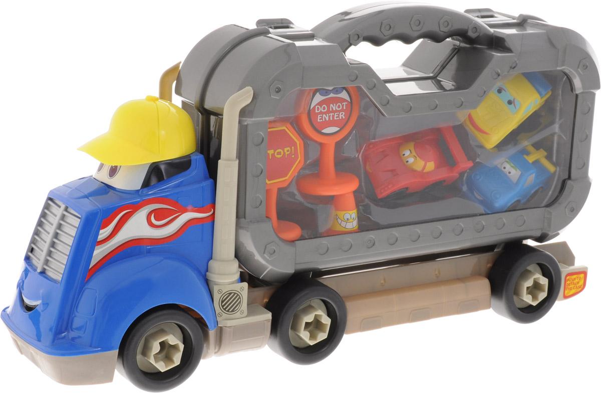 Boley Игровой набор Смелый гонщик с машинками цвет синий серый74817_синий, серыйИгровой набор Boley Смелый гонщик - великолепный набор для юного гонщика. Набор выполнен в виде грузовика, кузовом которого является чемоданчик с прозрачными стенками. Чемоданчик съемный, содержит три гоночные машинки, 2 дорожных знака и дорожный конус. Колеса машинок свободно вращаются. Порадуйте своего ребенка таким чудесным набором!