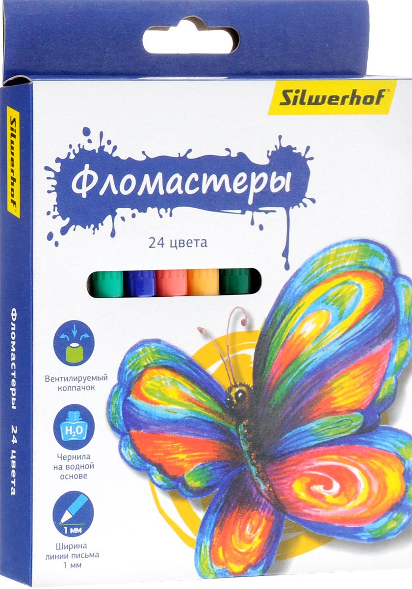 Silwerhof Фломастеры Бабочки 24 цвета867200-24Набор Silwerhof Бабочки - это 24 фломастера ярких насыщенных цветов в разноцветных пластиковых корпусах (цвет корпуса соответствует цвету чернил). Каждый фломастер оснащен плотным вентилируемым колпачком, защищающим чернила от испарения. Чернила изготовлены на водной основе. Легко отстирываются и смываются с рук. Фломастеры Silwerhof - идеальный инструмент для самовыражения и развития маленького художника!
