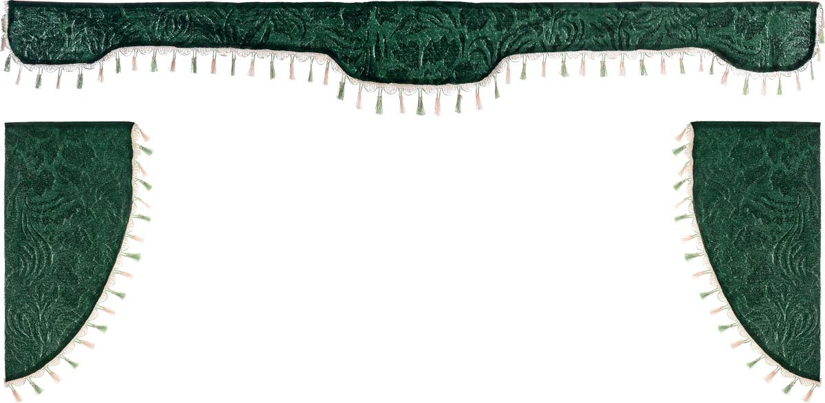 Ламбрекен для автомобильных штор Главдор, на грузовые, цвет: зеленый. GL-167GL-167Ламбрекен для автомобильных штор Главдор изготовлен из бархатистого текстиля и декорирован кисточками по всей длине. Ламбрекен фиксируется при помощи липучек в верхней области лобового стекла и по сторонам боковых стекол. Такой аксессуар защитит от солнечных лучей и добавит уюта в интерьер салона. Размер ламбрекена на лобовое стекло: 207 х 20 см. Размер ламбрекена на боковое стекло: 67 х 36 см.