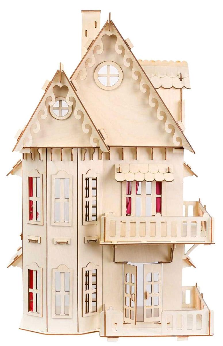 Большой Слон Кукольный домикД-001Деревянный домик для маленьких кукол от компании Большой Слон привлечет внимание вашей малышки и не позволит ей скучать. Комплект включает в себя деревянные элементы для сборки великолепного двухэтажного домика с балкончиками и чердаком. Прекрасный дом оснащен открывающимися дверьми, большими окошками и лестницей. Окошки с внутренней стороны оформлены карнизами с текстильными занавесками. Набор, выполненный из натурального дерева, надолго займет внимание вашей малышки. В коробке вы найдете резные элементы для сборки дома и схематичную инструкцию. При сборке домика развивается мелкая моторика рук, а при игре - воображение и фантазия ребенка. Такой набор подойдет небольшим куколкам вашей малышки. Порадуйте свою принцессу таким замечательным подарком!