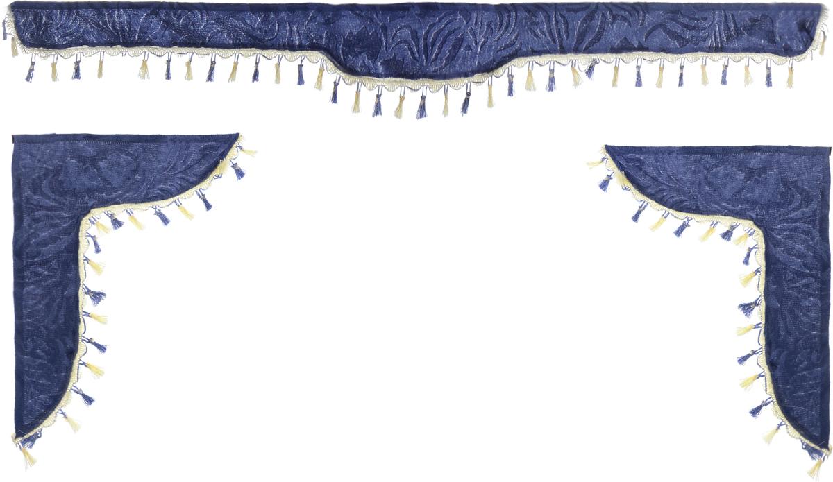 Ламбрекен для автомобильных штор Главдор, на Газель NEXT и микроавтобусы, цвет: серо-голубойGL-178Ламбрекен для автомобильных штор Главдор изготовлен из бархатистого текстиля и декорирован кисточками по всей длине. Ламбрекен фиксируется при помощи липучек в верхней области лобового стекла и по сторонам боковых стекол. Такой аксессуар защитит от солнечных лучей и добавит уюта в интерьер салона. Размер ламбрекена на лобовое стекло: 180 х 15 см. Размер ламбрекена на боковое стекло: 60 х 45 см.