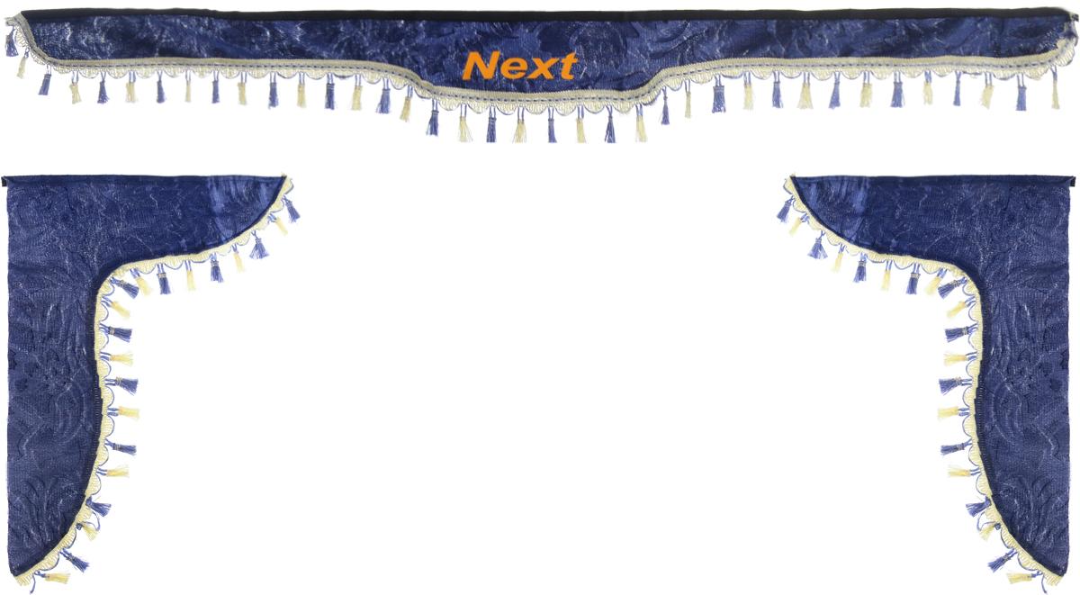 Ламбрекен для автомобильных штор Главдор, на Газель NEXT, цвет: серо-голубойGL-186Ламбрекен для автомобильных штор Главдор изготовлен из бархатистого текстиля, оформлен надписью Next по центру и декорирован кисточками по всей длине. Ламбрекен фиксируется при помощи липучек в верхней области лобового стекла и по сторонам боковых стекол. Такой аксессуар защитит от солнечных лучей и добавит уюта в интерьер салона. Размер ламбрекена на лобовое стекло: 180 х 15 см. Размер ламбрекена на боковое стекло: 60 х 45 см.