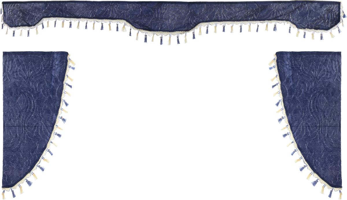 Ламбрекен для автомобильных штор Главдор, на грузовые, цвет: серо-голубой. GL-170GL-170Ламбрекен для автомобильных штор Главдор изготовлен из бархатистого текстиля и декорирован кисточками по всей длине. Ламбрекен фиксируется при помощи липучек в верхней области лобового стекла и по сторонам боковых стекол. Такой аксессуар защитит от солнечных лучей и добавит уюта в интерьер салона. Размер ламбрекена на лобовое стекло: 207 х 20 см. Размер ламбрекена на боковое стекло: 67 х 36 см.