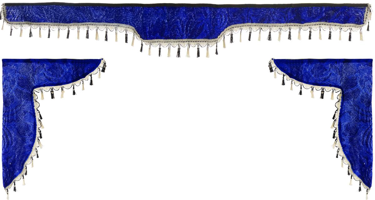 Ламбрекен для автомобильных штор Главдор, на Газель NEXT и микроавтобусы, цвет: синийGL-179Ламбрекен для автомобильных штор Главдор изготовлен из бархатистого текстиля и декорирован кисточками по всей длине. Ламбрекен фиксируется при помощи липучек в верхней области лобового стекла и по сторонам боковых стекол. Такой аксессуар защитит от солнечных лучей и добавит уюта в интерьер салона. Размер ламбрекена на лобовое стекло: 180 х 15 см. Размер ламбрекена на боковое стекло: 60 х 45 см.