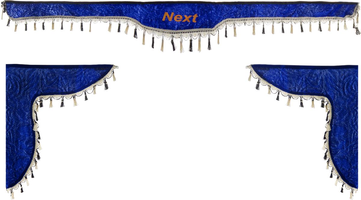 Ламбрекен для автомобильных штор Главдор, на Газель Next, цвет: синийGL-187Ламбрекен для автомобильных штор Главдор изготовлен из бархатистого текстиля, оформлен надписью Next по центру и декорирован кисточками по всей длине. Ламбрекен фиксируется при помощи липучек в верхней области лобового стекла и по сторонам боковых стекол. Такой аксессуар защитит от солнечных лучей и добавит уюта в интерьер салона. Размер ламбрекена на лобовое стекло: 180 х 15 см. Размер ламбрекена на боковое стекло: 60 х 45 см.