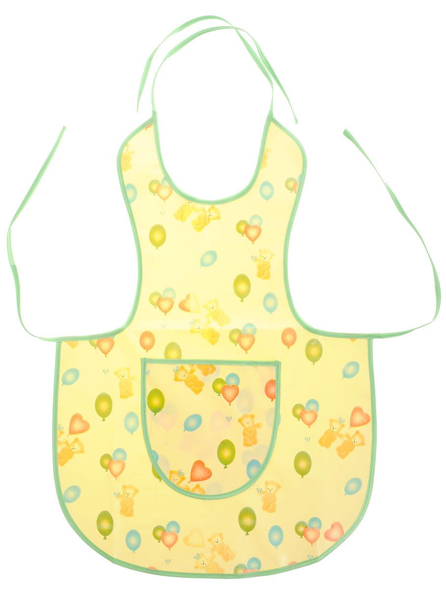 Колорит Фартук защитный 64 см х 44 см, цвет: желтый, зеленый