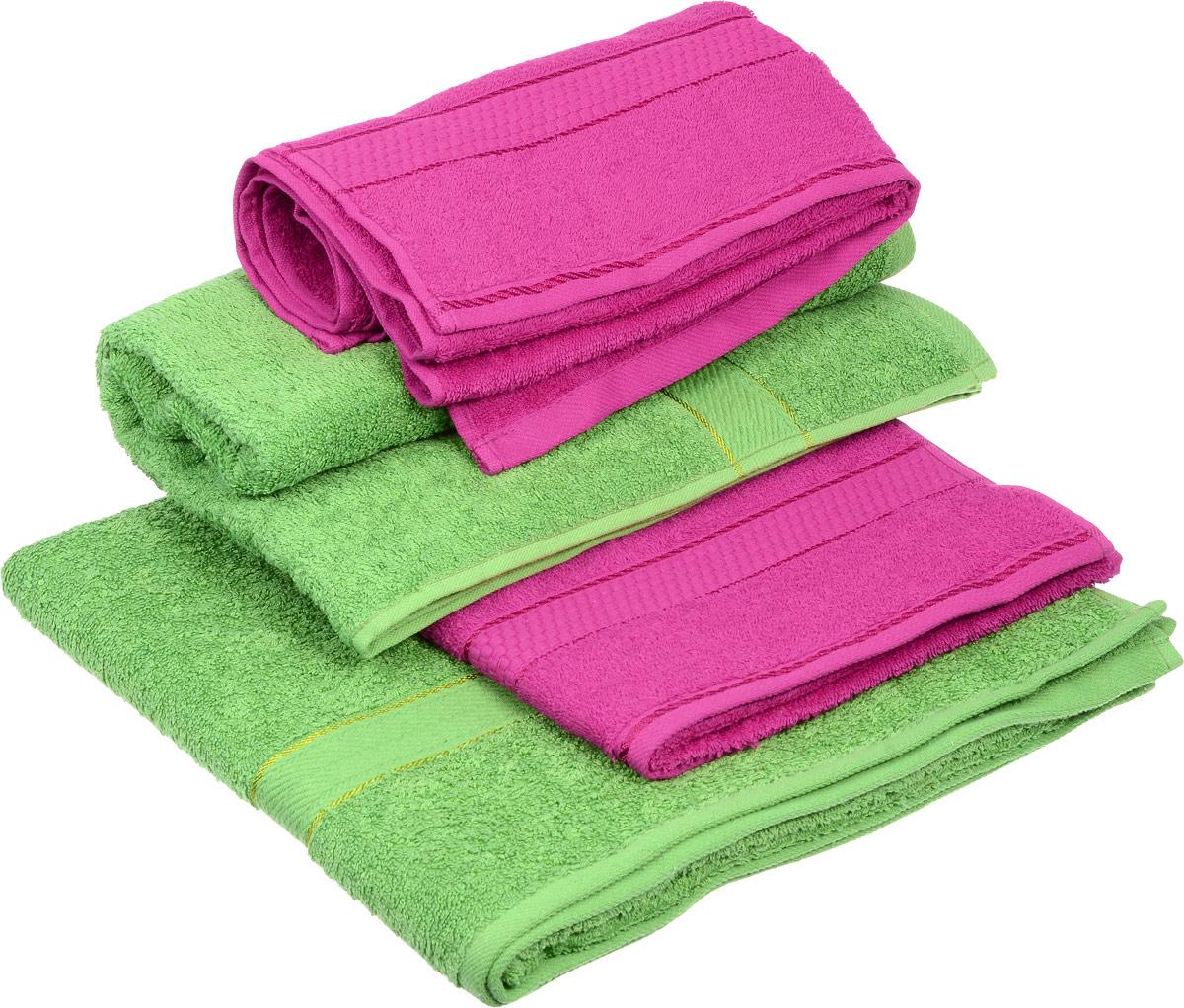 Набор махровых полотенец Aisha Home Textile, цвет: зеленый, малиновый, 4 штУзТ-ПМ-103-28-08Набор Aisha Home Textile состоит из двух полотенец 50 х 90 см и двух банных 70 х 140 см. Полотенца выполнены из натурального 100% хлопка и махровой ткани. Изделия отлично впитывают влагу, быстро сохнут, сохраняют яркость цвета и не теряют формы даже после многократных стирок. Полотенца Aisha Home Textile очень практичны и неприхотливы в уходе. Комплектация: 4 шт.