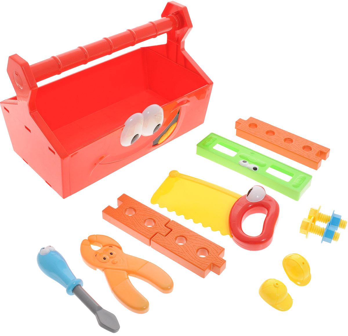 Boley Игровой набор Инструменты с ящиком31701Набор игрушечных инструментов Boley серии Buddy Toolz - великолепный набор для юного строителя. Легкие и яркие пластиковые инструменты сделают вашу домашнюю мастерскую безопасной для ребенка. Набор содержит отвертку, плоскогубцы, пилу, уровень, 2 болта, 2 гайки, 3 деревянные дощечки, 2 каски. Все инструменты упакованы в специальный ящик с удобной ручкой. Игрушки помогут маленькому мастеру познакомиться с основными видами инструментов и получить навык работы с ними. Предметы, входящие в набор, замечательно подходят для дидактических и ролевых игр, знакомят с социальными ролями, развивают моторные навыки. Порадуйте своего ребенка таким чудесным набором!