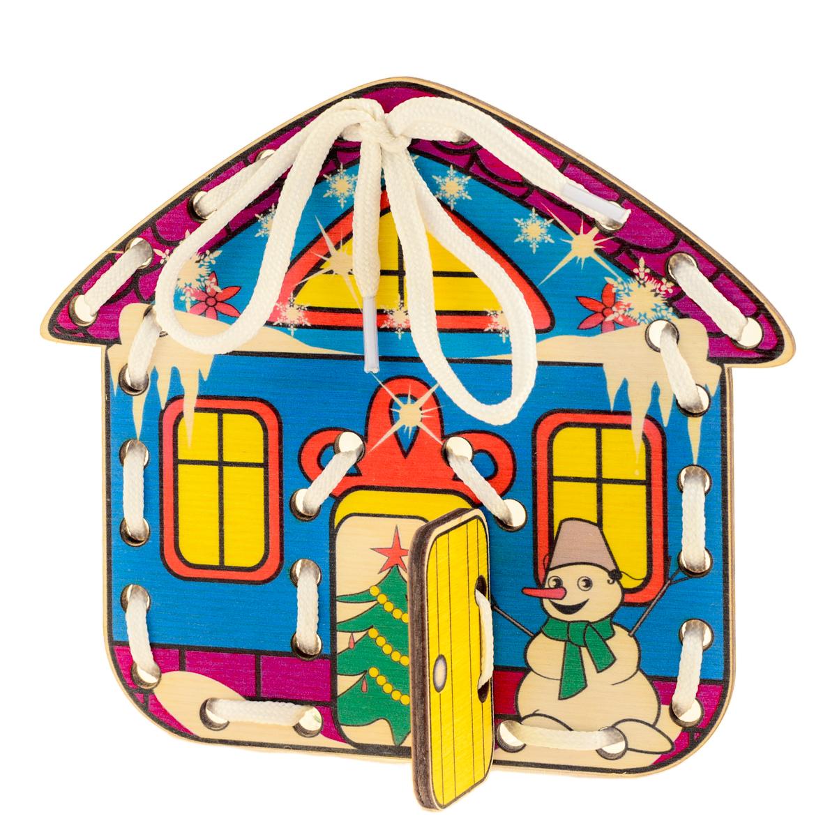 Развивающие деревянные игрушки Шнуровка Домик Времена года ЗимаД514аШнуровка из качественных деревоматериалов - прекрасная игрушка для развития ребенка. Шнуровка-домик из обработатнной фанеры непременно станет любимой игрушкой любопытного непоседы. Серия шнуровок ВРЕМЕНА ГОДА не только послужит незаменимым пособием для развития моторики ребенка, но и познакомит его с окружающим миром. Насыщенные цвета и разнообразные формы будут стимулировать детское воображение и фантазию, развивать внимание, цветовое восприятие, моторику и координацию. А после того, как ребенок зашнурует домик, можно будет поиграть с домиком, открывая и закрывая дверь. ВНИМАНИЕ! Детали игрушки выполнены из натурального дерева (деревоматериала) без покрытия лаками или другими химическими составами. Перед использованием удалите остатки древесины и древесную пыль, тщательно протерев детали игрушки мягкой тканью!