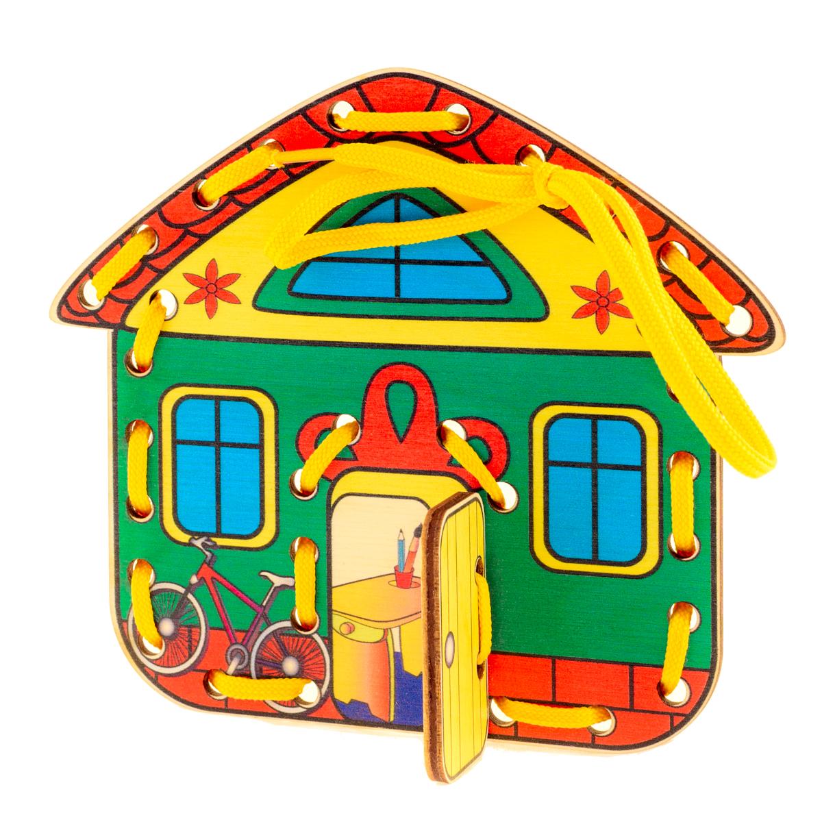Развивающие деревянные игрушки Шнуровка Домик Времена года ВеснаД515аШнуровка из качественных деревоматериалов - прекрасная игрушка для развития ребенка. Шнуровка-домик из обработатнной фанеры непременно станет любимой игрушкой любопытного непоседы. Серия шнуровок ВРЕМЕНА ГОДА не только послужит незаменимым пособием для развития моторики ребенка, но и познакомит его с окружающим миром. Насыщенные цвета и разнообразные формы будут стимулировать детское воображение и фантазию, развивать внимание, цветовое восприятие, моторику и координацию. А после того, как ребенок зашнурует домик, можно будет поиграть с домиком, открывая и закрывая дверь. ВНИМАНИЕ! Детали игрушки выполнены из натурального дерева (деревоматериала) без покрытия лаками или другими химическими составами. Перед использованием удалите остатки древесины и древесную пыль, тщательно протерев детали игрушки мягкой тканью!