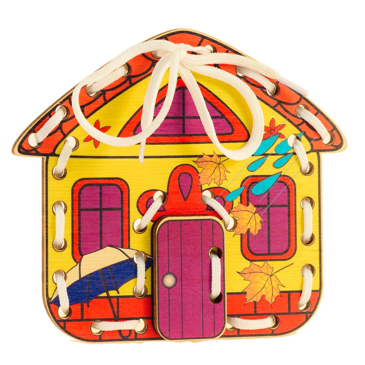 Развивающие деревянные игрушки Шнуровка Домик Времена года ОсеньД517аШнуровка из качественных деревоматериалов - прекрасная игрушка для развития ребенка. Шнуровка-домик из обработатнной фанеры непременно станет любимой игрушкой любопытного непоседы. Серия шнуровок ВРЕМЕНА ГОДА не только послужит незаменимым пособием для развития моторики ребенка, но и познакомит его с окружающим миром. Насыщенные цвета и разнообразные формы будут стимулировать детское воображение и фантазию, развивать внимание, цветовое восприятие, моторику и координацию. А после того, как ребенок зашнурует домик, можно будет поиграть с домиком, открывая и закрывая дверь. ВНИМАНИЕ! Детали игрушки выполнены из натурального дерева (деревоматериала) без покрытия лаками или другими химическими составами. Перед использованием удалите остатки древесины и древесную пыль, тщательно протерев детали игрушки мягкой тканью!
