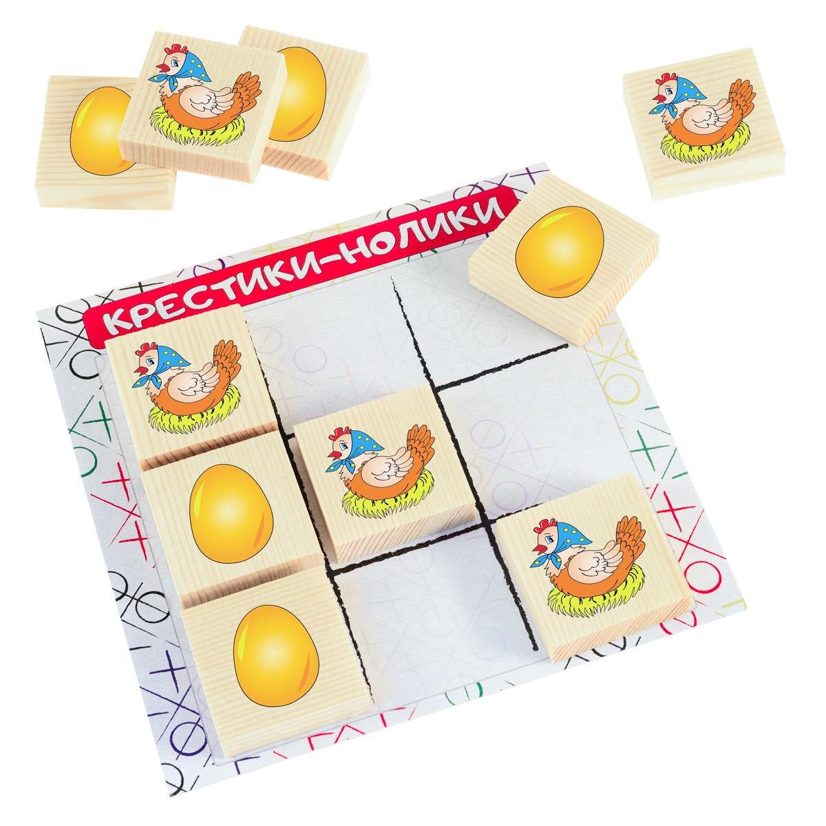 Развивающие деревянные игрушки Обучающая игра Крестики-нолики Курочка и яичкоД521аРазвивающая игра КРЕСТИКИ-НОЛИКИ КУРОЧКА и ЯИЧКО для детей производится из экологичного материала — натурального дерева. Фишки большого размера — 10х35х35 мм — прекрасно подойдут даже для самых маленьких игроков. Малышу удобно держать такую фишку. Рисунки на ней — яркие и большие. С этой игрушкой можно играть не только дома, но и эффективно использовать для занятий в детском саду. Играя, ребёнок развивает целый спектр навыков: моторику, логику, воображение, а также изучает окружающий мир, счёт и цвета. В наборе КРЕСТИКИ-НОЛИКИ КУРОЧКА и ЯИКО вместо традиционных крестика и нолика на поле соревнуются курочка-наседка и яичко. ВНИМАНИЕ! Детали игрушки выполнены из натурального дерева (деревоматериала) без покрытия лаками или другими химическими составами. Перед использованием удалите остатки древесины и древесную пыль, тщательно протерев детали игрушки мягкой тканью!