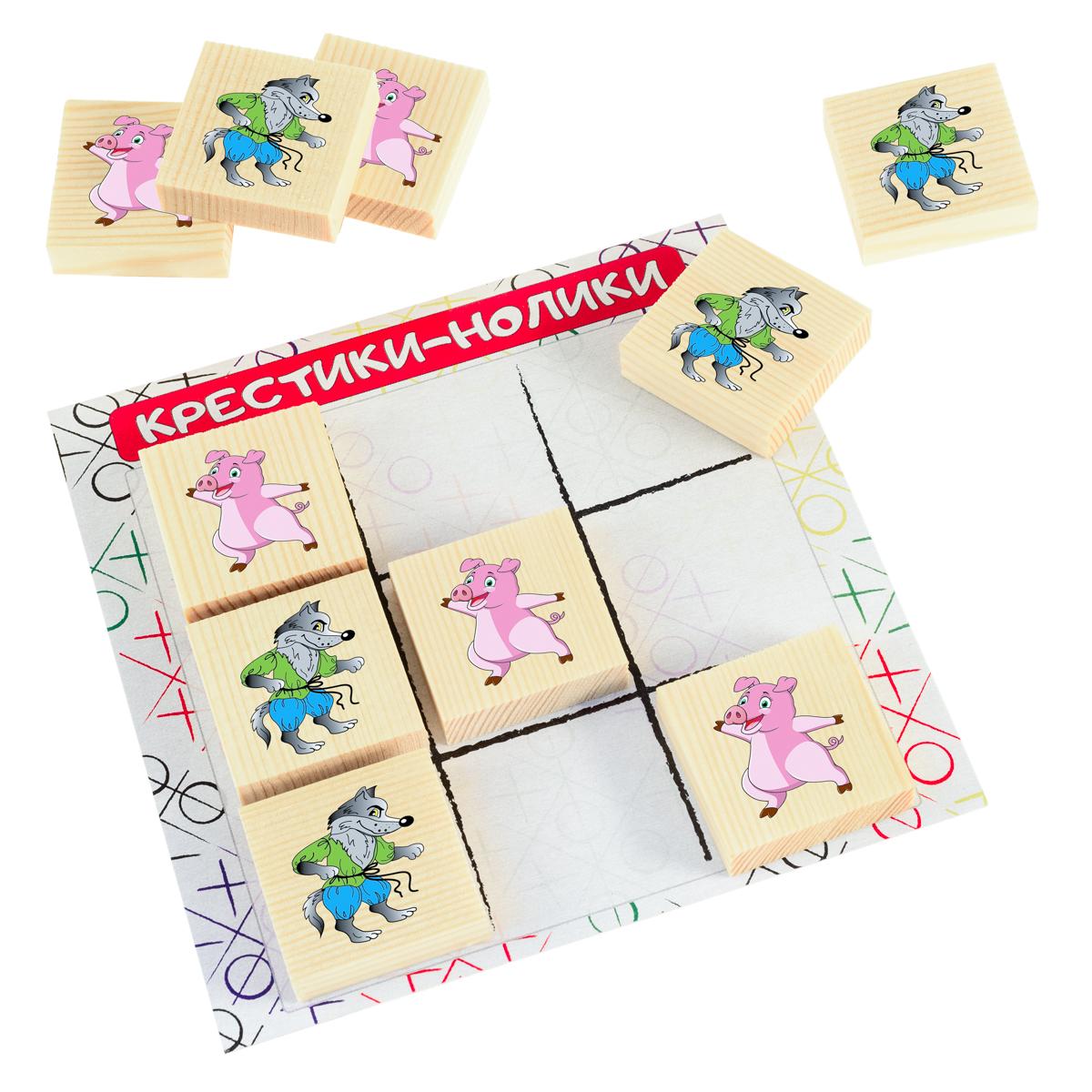 Развивающие деревянные игрушки Обучающая игра Крестики-нолики Волк и поросенокД522аРазвивающая игра КРЕСТИКИ-НОЛИКИ ВОЛК и ПОРОСЕНОК для детей производится из экологичного материала — натурального дерева. Фишки большого размера — 10х35х35 мм — прекрасно подойдут даже для самых маленьких игроков. Малышу удобно держать такую фишку. Рисунки на ней — яркие и большие. С этой игрушкой можно играть не только дома, но и эффективно использовать для занятий в детском саду. Играя, ребёнок развивает целый спектр навыков: моторику, логику, воображение, а также изучает окружающий мир, счёт и цвета. В наборе КРЕСТИКИ-НОЛИКИ ВОЛК и ПОРОСЕНОК вместо традиционных крестика и нолика на поле соревнуются веселый танцующий поросенок и грозный серый волк. ВНИМАНИЕ! Детали игрушки выполнены из натурального дерева (деревоматериала) без покрытия лаками или другими химическими составами. Перед использованием удалите остатки древесины и древесную пыль, тщательно протерев детали игрушки мягкой тканью!