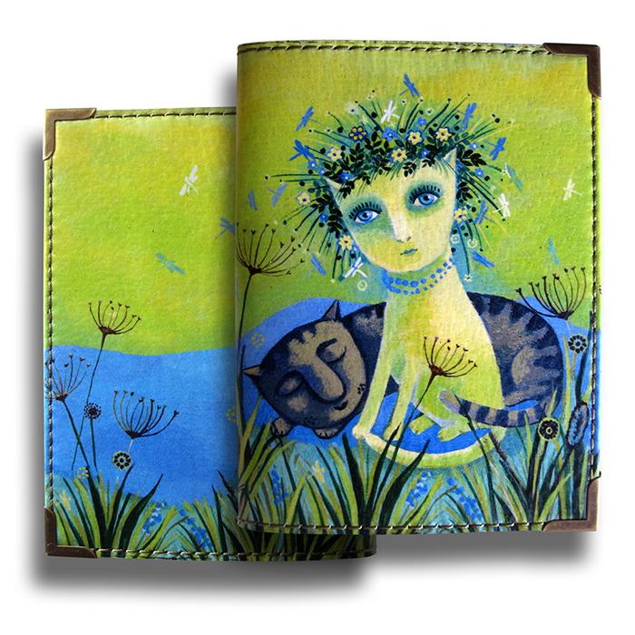 """Обложка для паспорта BORЯN """"Венок"""", цвет: салатовый, голубой. Авторская работа. BR528"""