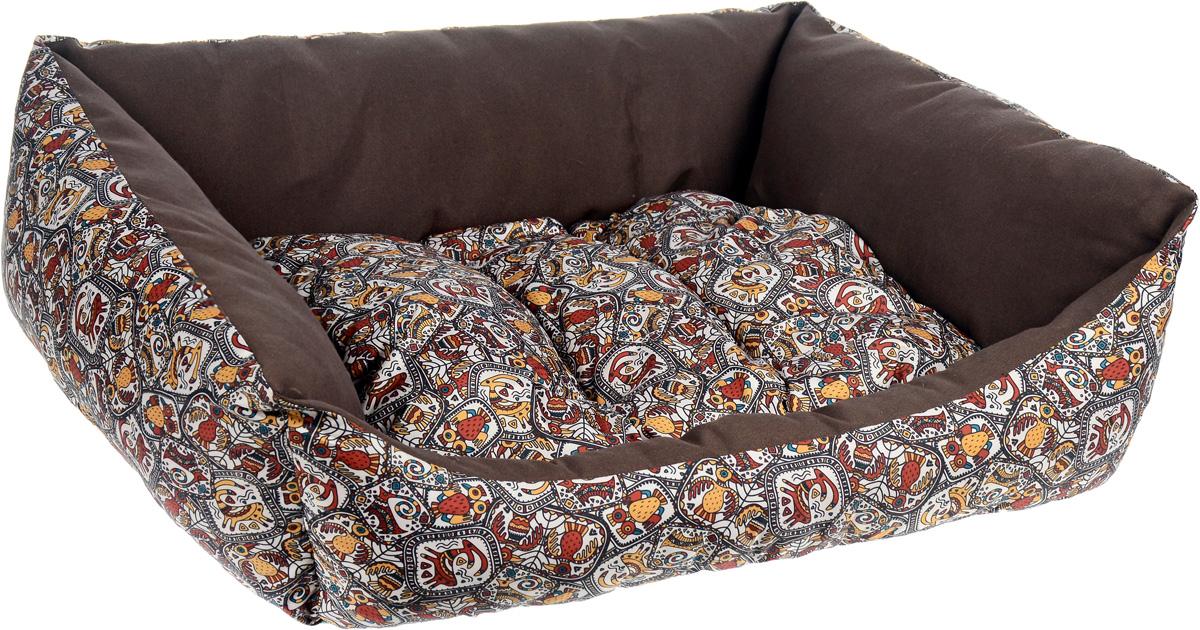 Лежак для собак Happy Puppy Этнос, 57 х 44 х 15 смHP-160509-3_темно-коричневыйМягкий лежак Happy Puppy Этнос обязательно понравится вашему питомцу. Он выполнен из высококачественного хлопка, а наполнитель - из мягкого холлофайбера. Такой материал не теряет своей формы долгое время. Лежак оснащен мягкой съемной подстилкой. Основание изделия выполнено из полиэстера с водоотталкивающей пропиткой. Высокие бортики обеспечат вашему любимцу уют. За изделием легко ухаживать, его можно стирать вручную. Мягкий лежак станет излюбленным местом вашего питомца, подарит ему спокойный и комфортный сон, а также убережет вашу мебель от шерсти.