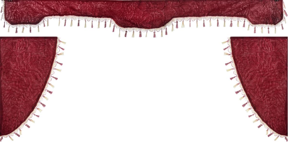 Ламбрекен для автомобильных штор Главдор, на грузовые, цвет: бордовый. GL-169GL-169Ламбрекен для автомобильных штор Главдор изготовлен из бархатистого текстиля и декорирован кисточками по всей длине. Ламбрекен фиксируется при помощи липучек в верхней области лобового стекла и по сторонам боковых стекол. Такой аксессуар защитит от солнечных лучей и добавит уюта в интерьер салона. Размер ламбрекена на лобовое стекло: 207 х 20 см. Размер ламбрекена на боковое стекло: 67 х 36 см.