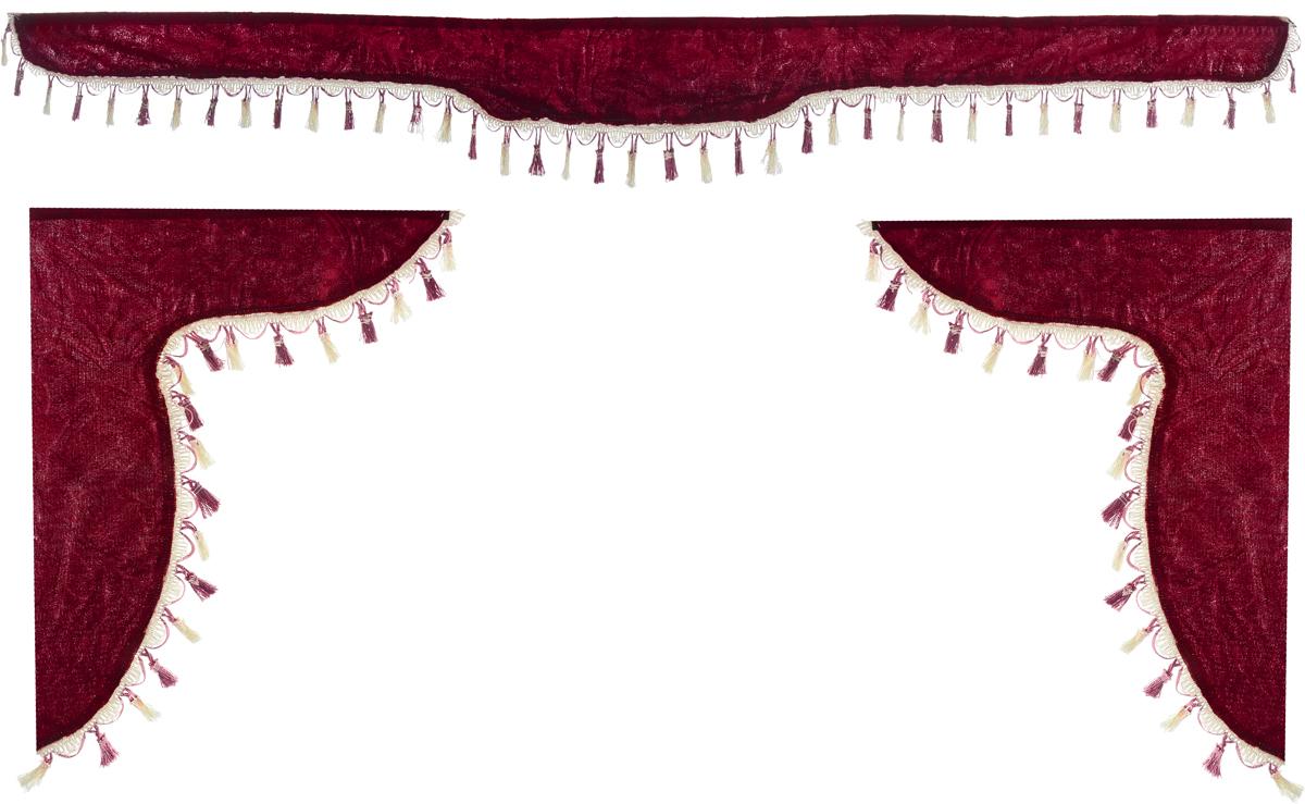 Ламбрекен для автомобильных штор Главдор, на Газель Next и микроавтобусы, цвет: бордовыйGL-177Ламбрекен для автомобильных штор Главдор изготовлен из бархатистого текстиля и декорирован кисточками по всей длине. Ламбрекен фиксируется при помощи липучек в верхней области лобового стекла и по сторонам боковых стекол. Такой аксессуар защитит от солнечных лучей и добавит уюта в интерьер салона. Размер ламбрекена на лобовое стекло: 180 х 15 см. Размер ламбрекена на боковое стекло: 60 х 45 см.