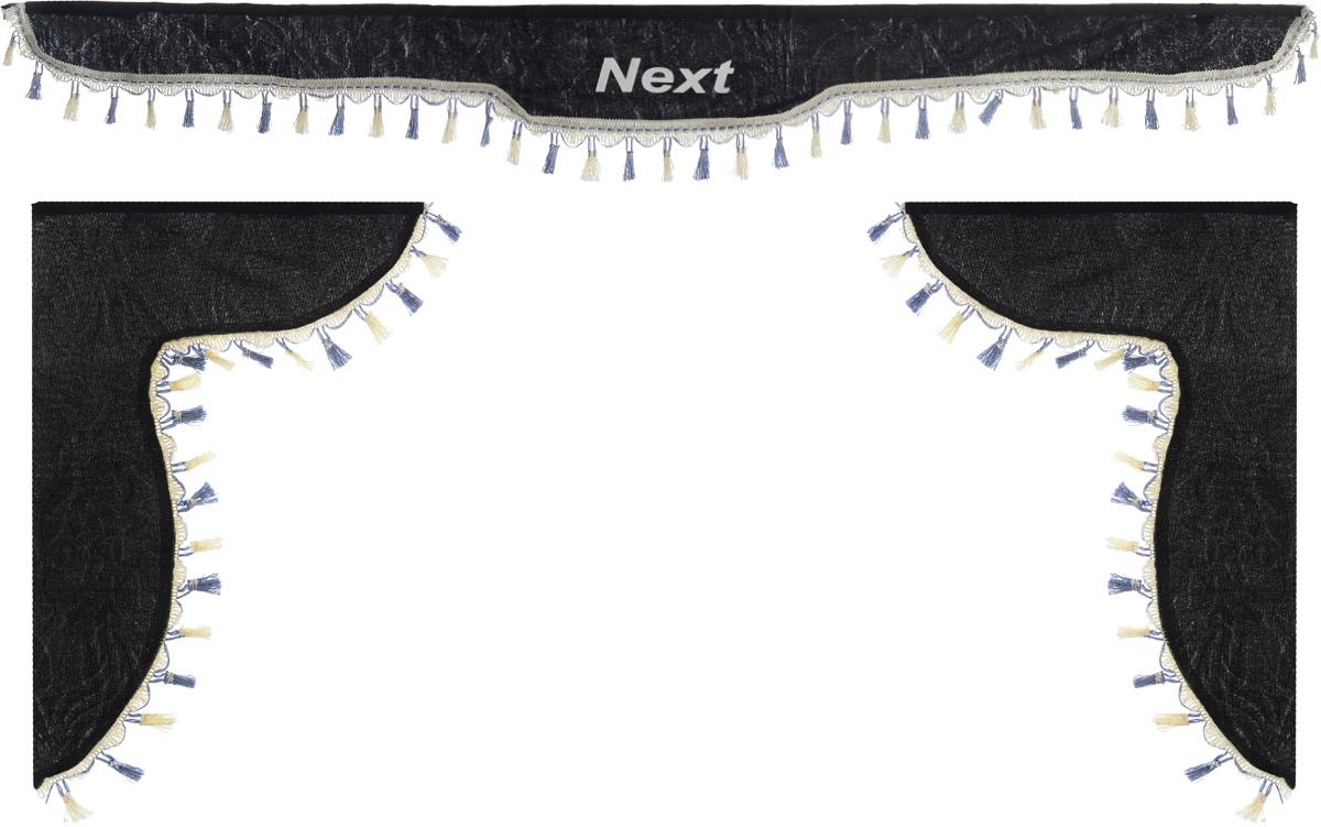 Ламбрекен для автомобильных штор Главдор, на Газель NEXT, цвет: черныйGL-190Ламбрекен для автомобильных штор Главдор изготовлен из бархатистого текстиля, оформлен надписью Next по центру и декорирован кисточками по всей длине. Ламбрекен фиксируется при помощи липучек в верхней области лобового стекла и по сторонам боковых стекол. Такой аксессуар защитит от солнечных лучей и добавит уюта в интерьер салона. Размер ламбрекена на лобовое стекло: 180 х 15 см. Размер ламбрекена на боковое стекло: 60 х 45 см.