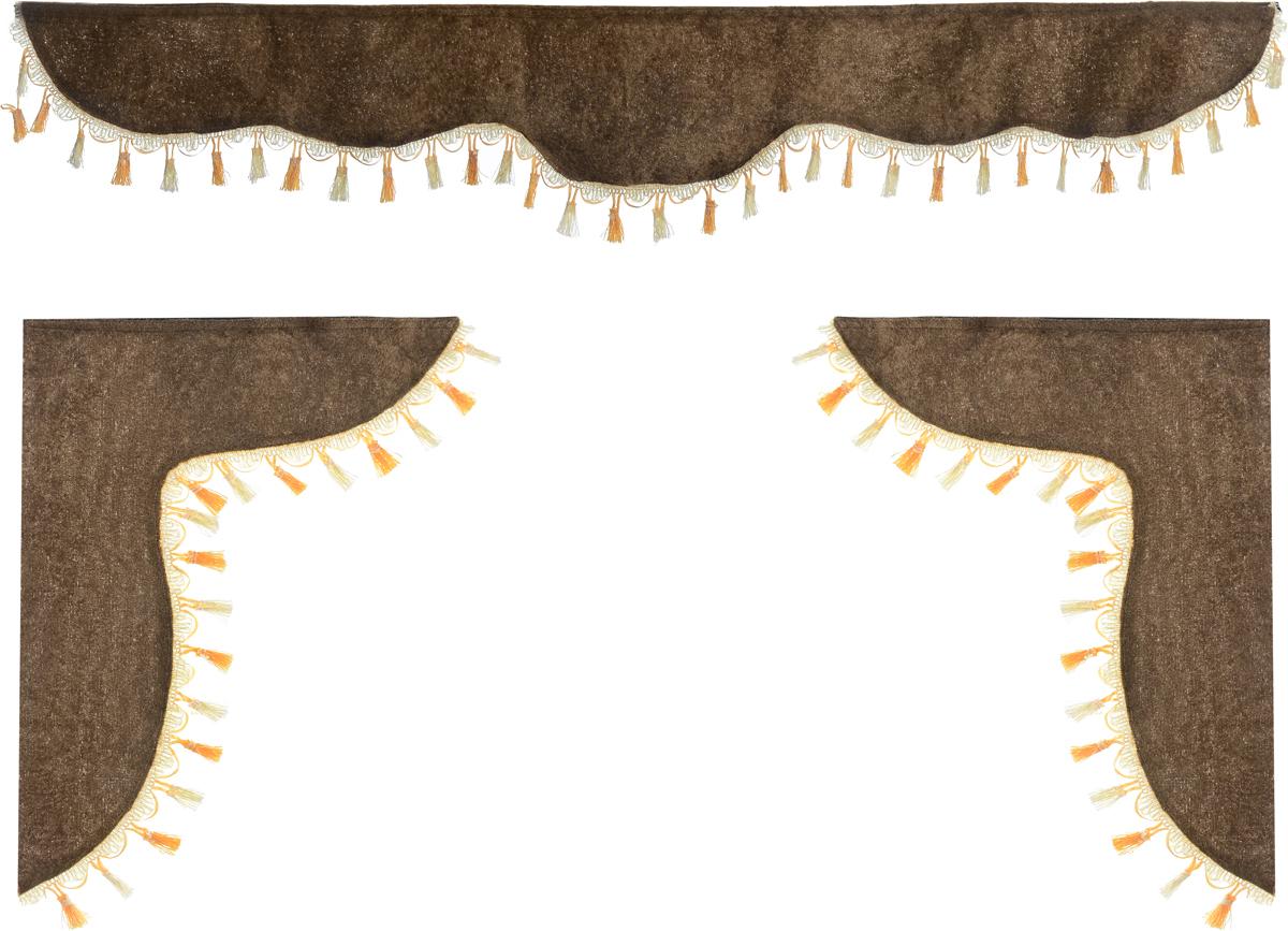 Ламбрекен для автомобильных штор Главдор, на Газель и микроавтобусы, цвет: коричневыйGL-157Ламбрекен для автомобильных штор Главдор изготовлен из бархатистого текстиля и декорирован кисточками по всей длине. Ламбрекен фиксируется при помощи липучек в верхней области лобового стекла и по сторонам боковых стекол. Такой аксессуар защитит от солнечных лучей и добавит уюта в интерьер салона. Размер ламбрекена на лобовое стекло: 140 х 20 см. Размер ламбрекена на боковое стекло: 60 х 45 см.