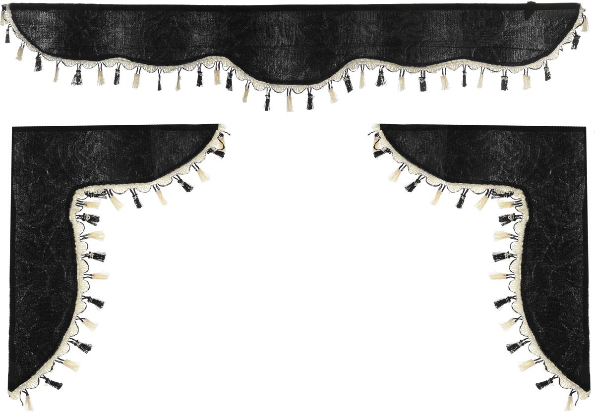 Ламбрекен для автомобильных штор Главдор, на Газель и микроавтобусы, цвет: черныйGL-162Ламбрекен для автомобильных штор Главдор изготовлен из бархатистого текстиля и декорирован кисточками по всей длине. Ламбрекен фиксируется при помощи липучек в верхней области лобового стекла и по сторонам боковых стекол. Такой аксессуар защитит от солнечных лучей и добавит уюта в интерьер салона. Размер ламбрекена на лобовое стекло: 140 х 20 см. Размер ламбрекена на боковое стекло: 60 х 45 см.