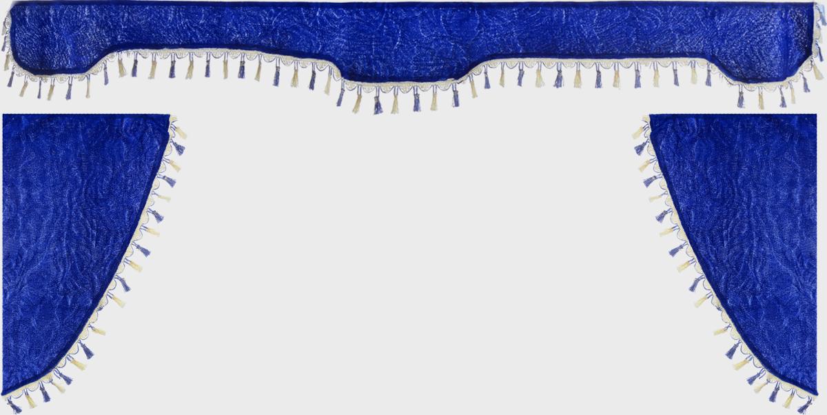 Ламбрекен для автомобильных штор Главдор, на грузовые, цвет: синий. GL-171GL-171Ламбрекен для автомобильных штор Главдор изготовлен из бархатистого текстиля и декорирован кисточками по всей длине. Ламбрекен фиксируется при помощи липучек в верхней области лобового стекла и по сторонам боковых стекол. Такой аксессуар защитит от солнечных лучей и добавит уюта в интерьер салона. Размер ламбрекена на лобовое стекло: 207 х 20 см. Размер ламбрекена на боковое стекло: 67 х 36 см.