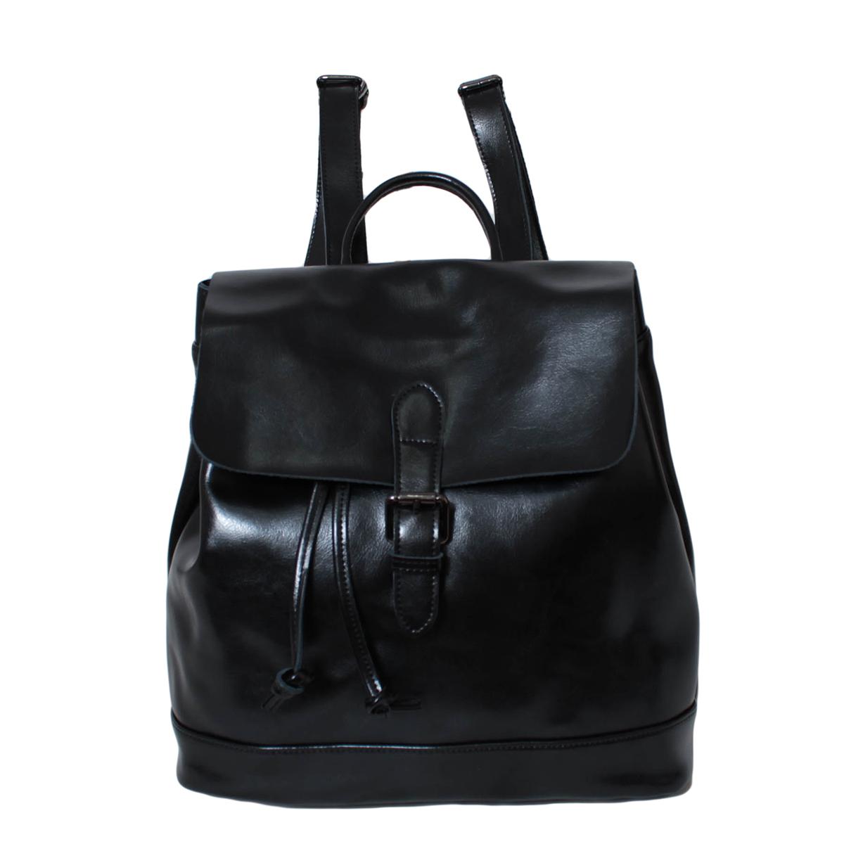 Рюкзак городской женский Flioraj, цвет: черный. 0005298200052982Закрывается на клапан. Внутри одно отделение, один карман на молнии и два для мобильного телефона, на задней стенке карман на молнии.. Высота ручки 6 см.
