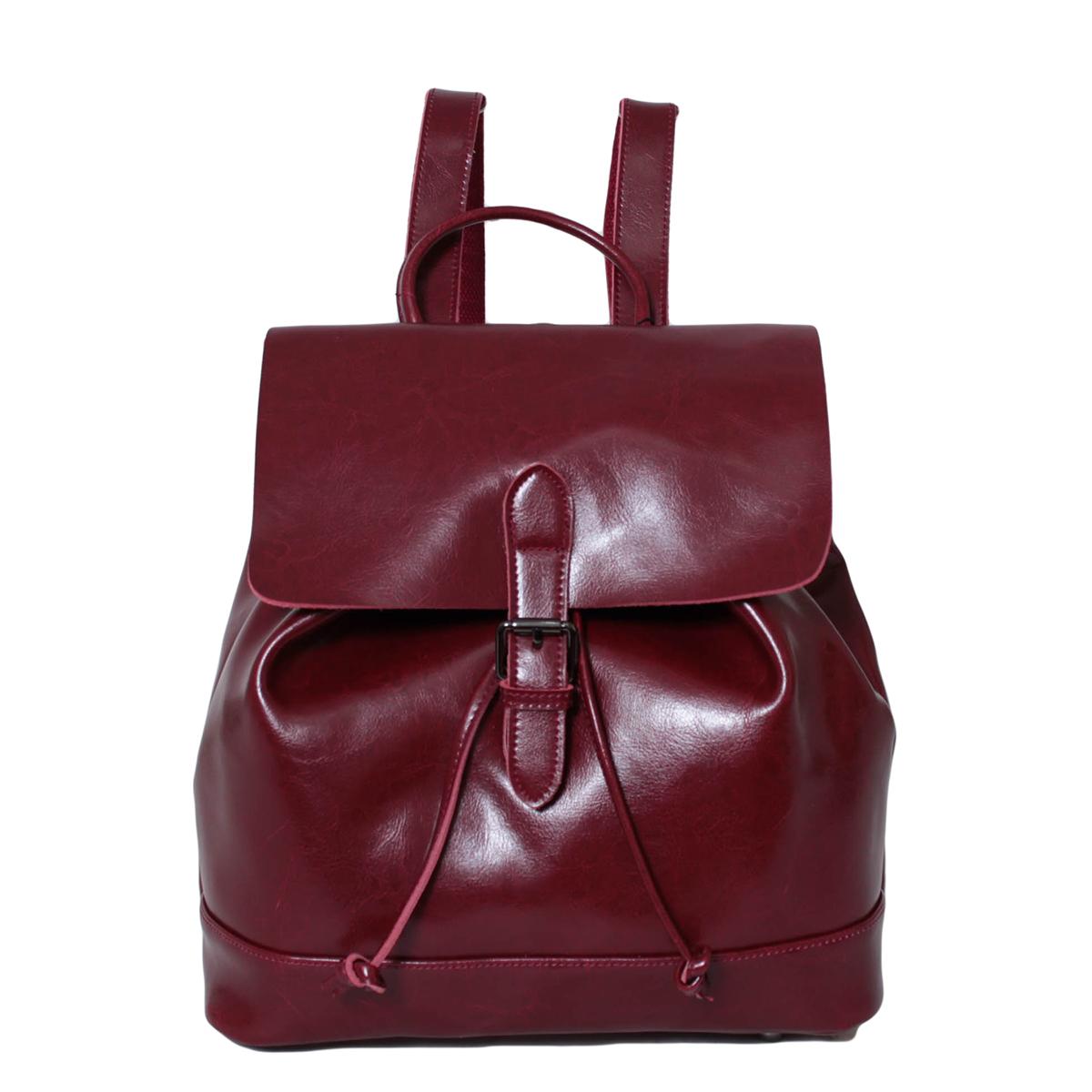 Рюкзак городской женский Flioraj, цвет: красный. 0005298500052985Закрывается на клапан. Внутри одно отделение, один карман на молнии и два для мобильного телефона, на задней стенке карман на молнии.. Высота ручки 6 см.