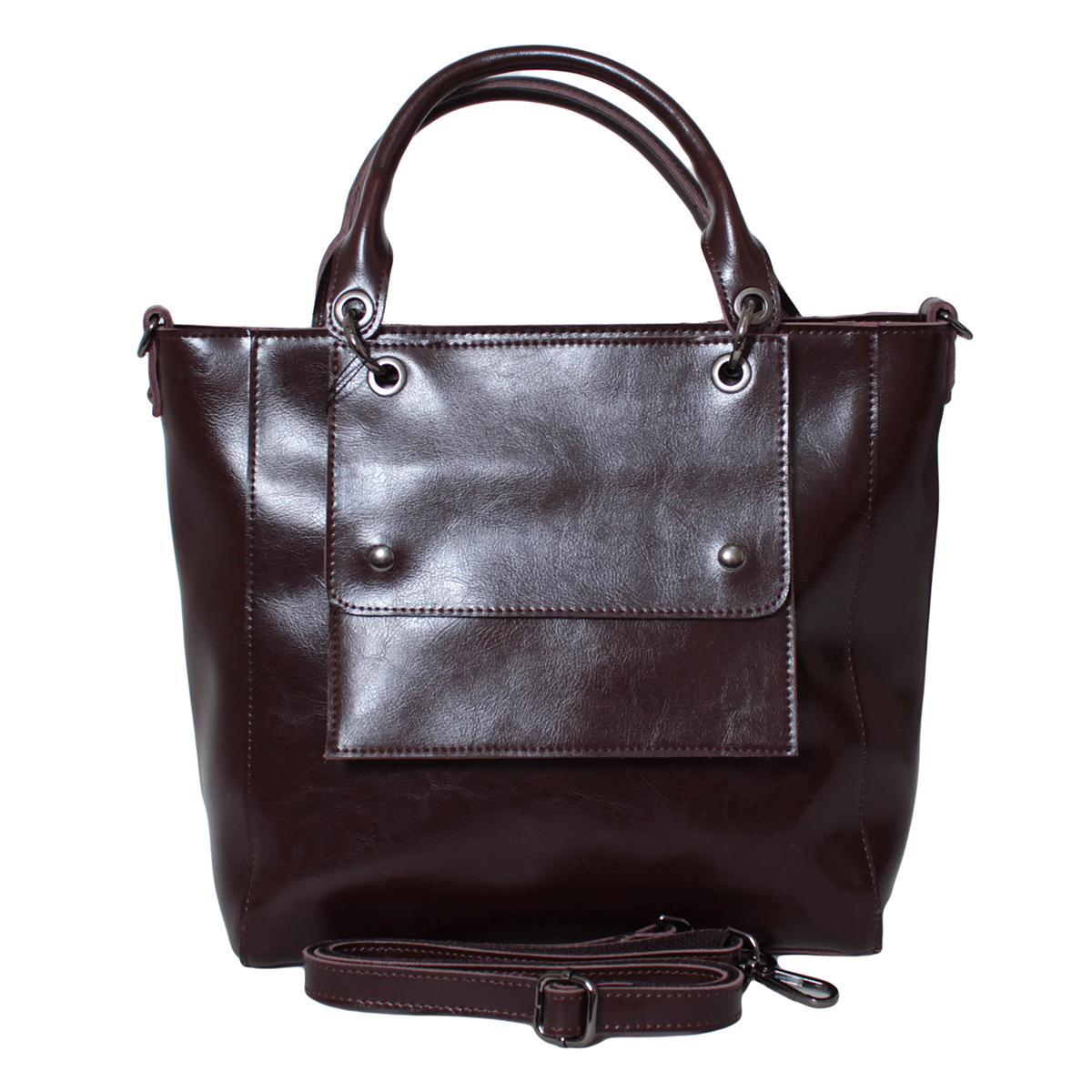 Сумка женская Flioraj, цвет: коричневый. 0005301100053011Закрывается на молнию. Внутри два отделения, два кармана на молнии, два для мобильного телефона. В комплекте длинный ремень и сумочка для документов. Высота ручек 15 см.