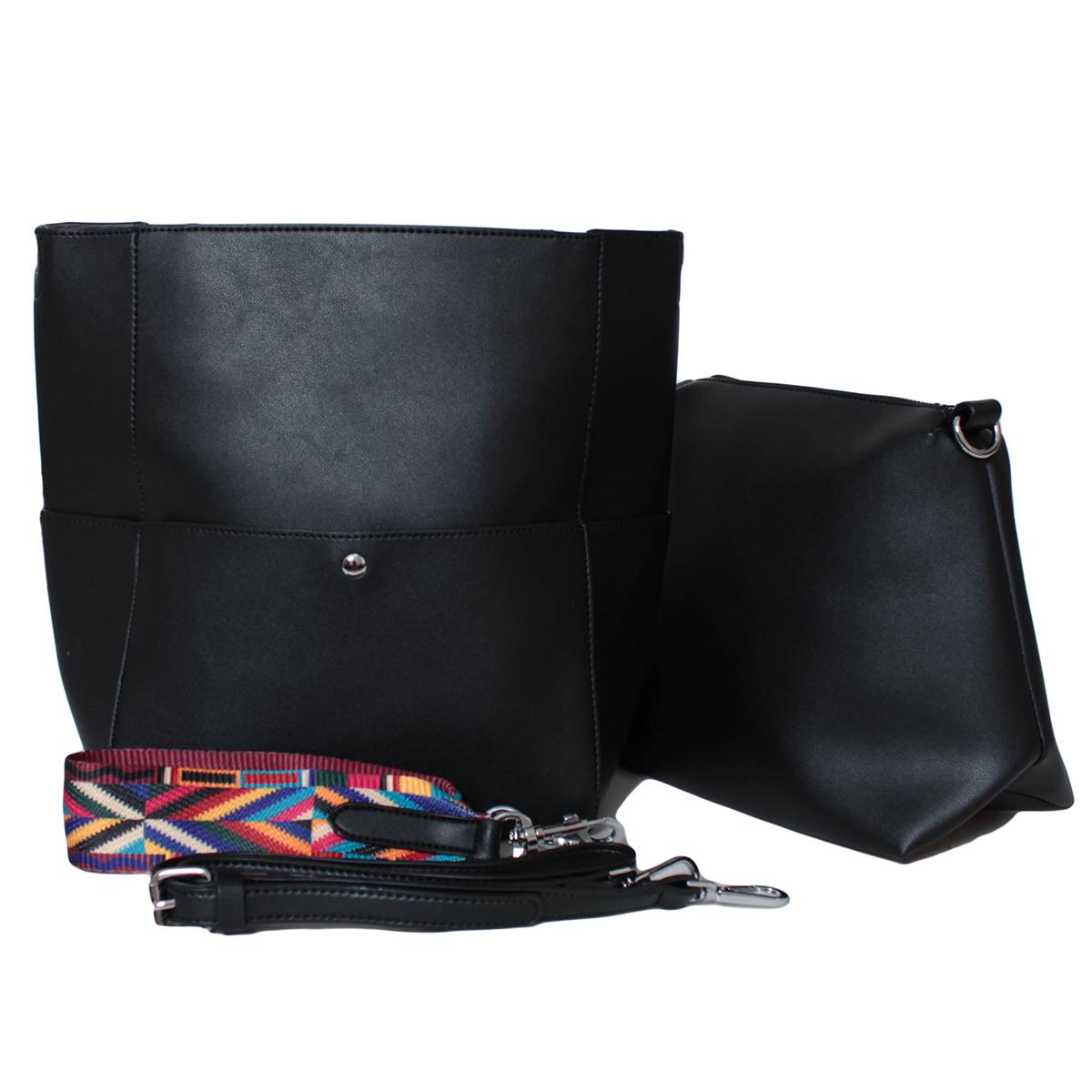 Сумка женская Flioraj, цвет: черный. 0005303500053035Закрывается на клапан. Внутри одно отделение, на передней и задней стенки карманы на клапах. В комплекте косметичка, короткий ремешок и длинный ремень.