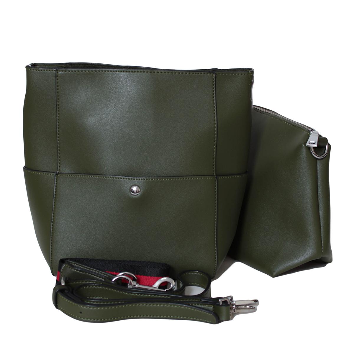 Сумка женская Flioraj, цвет: зеленый. 0005304100053041Закрывается на клапан. Внутри одно отделение, на передней и задней стенки карманы на клапах. В комплекте косметичка, короткий ремешок и длинный ремень.