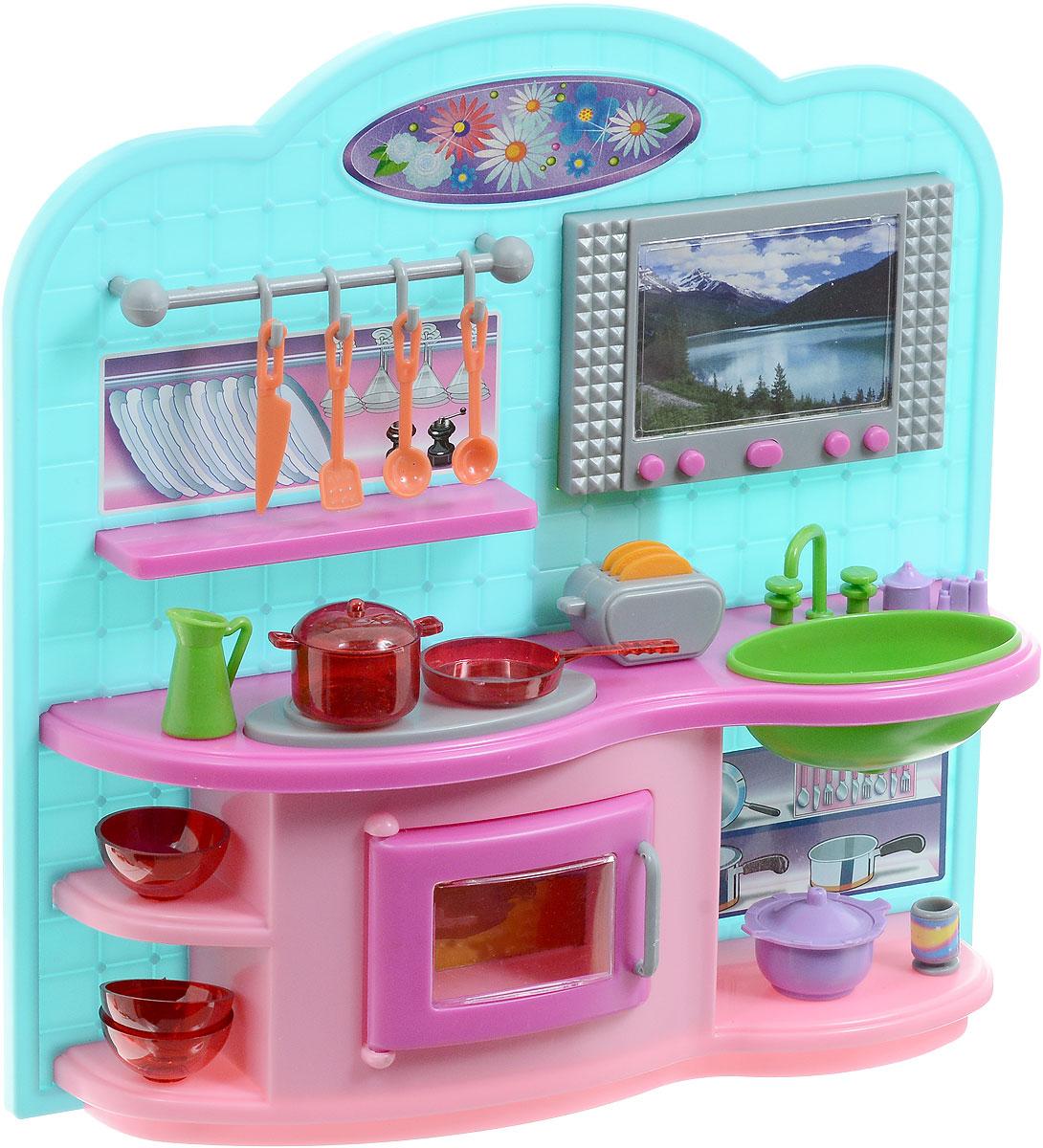 1TOY Мебель для кукол КухняТ54510Мебель для кукол 1TOY Кухня понравится многим девочкам. Набор представляет собой мини-кухню, которая станет отличным дополнением игрушечного кукольного домика. Кухня полностью оборудована и может стать достойным местом для приема гостей. В наборе имеются плита для приготовления пищи, раковина, различные кухонные аксессуары и принадлежности, играя с которыми можно разнообразить игровой процесс. Набор обладает световыми эффектами. Необходимо купить 2 батарейки напряжением 1,5V типа АА (не входят в комплект).