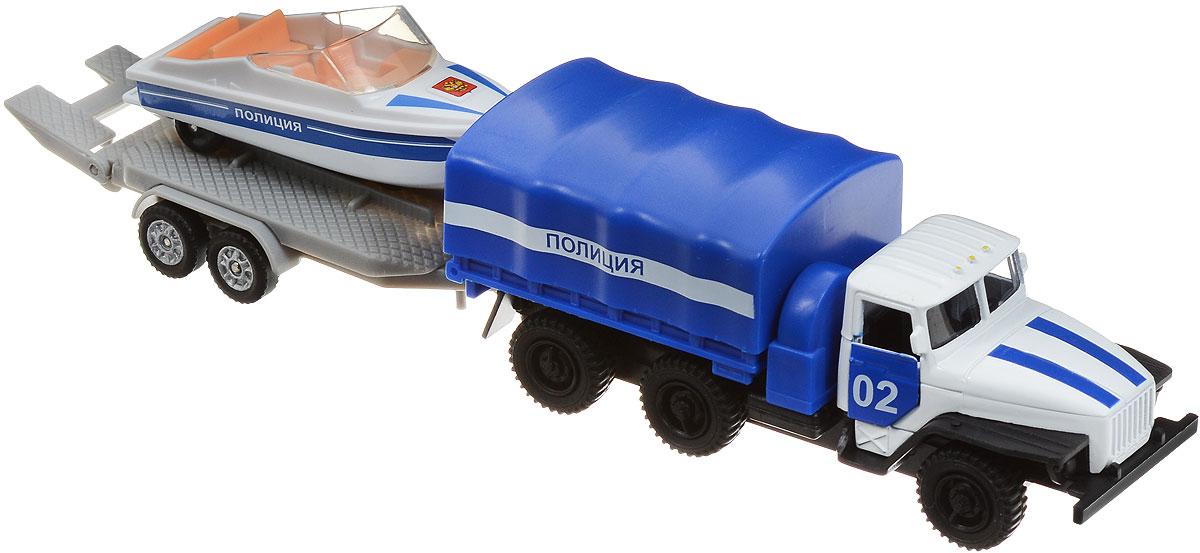 ТехноПарк Машинка Урал Полиция с катером на прицепеSB-16-34-P-WBМашинка ТехноПарк УралПолиция с прицепом и катером, выполненная из пластика и металла, станет любимой игрушкой вашего малыша. Игрушка представляет собой модель полицейского грузовика марки Урал, а также прицеп, на котором стоит настоящий полицейский катер. Благодаря такому набору преследовать преступников теперь можно не только по земле, но и по воде! Ваш ребенок будет часами играть с этими машинками, придумывая различные истории. Порадуйте его таким замечательным подарком!