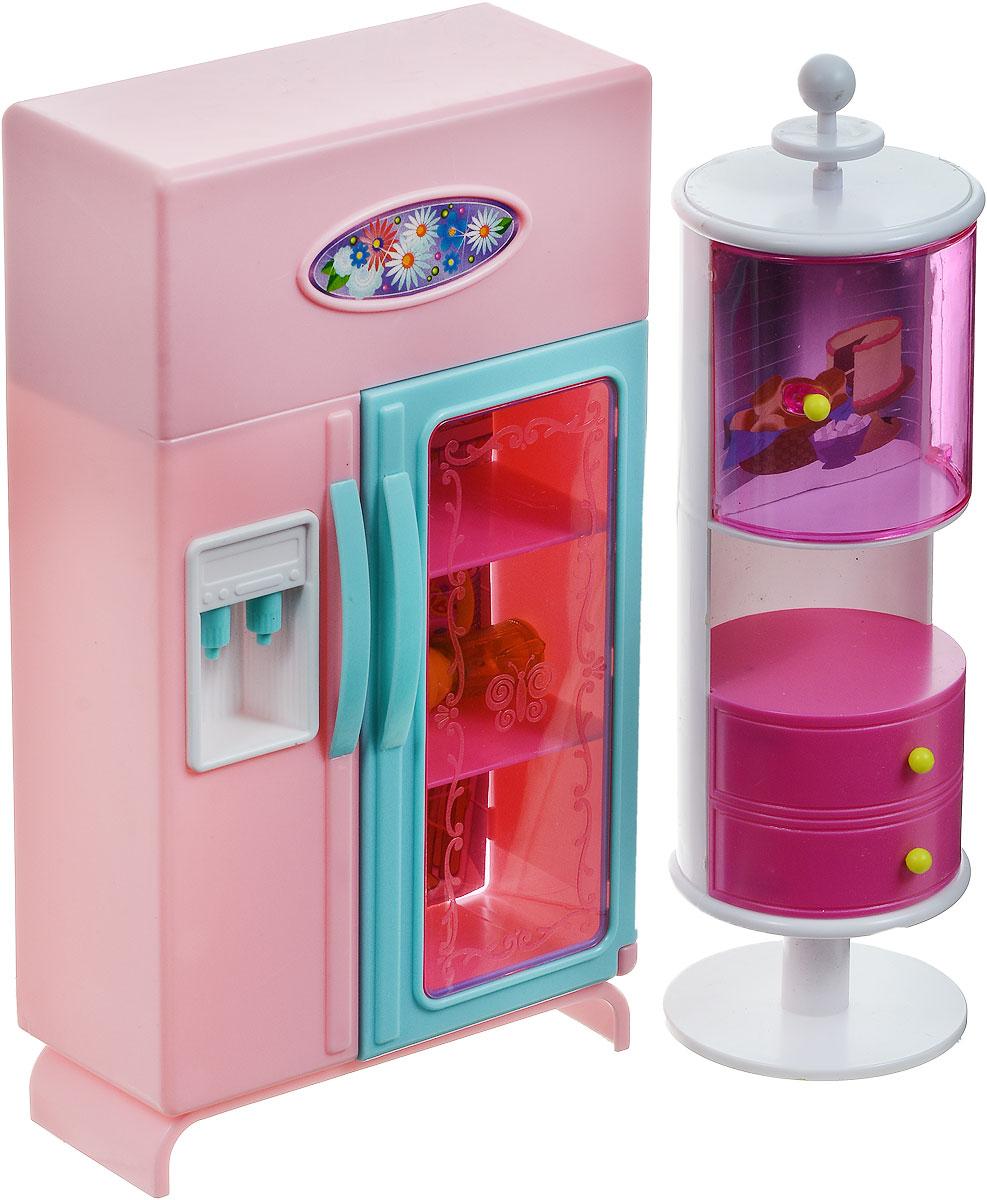 1TOY Мебель для кукол Холодильник и буфетТ54511Мебель для кукол 1TOY Холодильник и буфет поможет девочке обустроить кухню для своих любимых кукол. Этот набор кукольной мебели отлично впишется в интерьер любого домика для кукол высотой 29 сантиметров и станет его украшением. Холодильник приятного розового цвета с прозрачной дверцей оборудован стилизованным кулером для воды, что сделает игру еще более реалистичной, как и встроенные световые эффекты. А в буфете с необычным дизайном можно будет расставить посуду и хранить продукты. Необходимо купить 2 батарейки напряжением 1,5V типа АА (не входят в комплект).