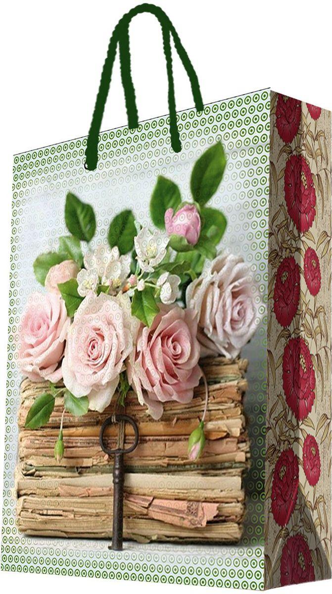 Пакет подарочный Magic Home Книги и розы, 33 х 45,7 х 10,2 см44209Подарочный пакет Magic Home, изготовленный из плотной бумаги, станет незаменимым дополнением к выбранному подарку. Дно изделия укреплено картоном, который позволяет сохранить форму пакета и исключает возможность деформации дна под тяжестью подарка. Пакет выполнен с глянцевой ламинацией, что придает ему прочность, а изображению - яркость и насыщенность цветов. Для удобной переноски имеются две ручки в виде шнурков. Подарок, преподнесенный в оригинальной упаковке, всегда будет самым эффектным и запоминающимся. Окружите близких людей вниманием и заботой, вручив презент в нарядном, праздничном оформлении. Плотность бумаги: 140 г/м2.