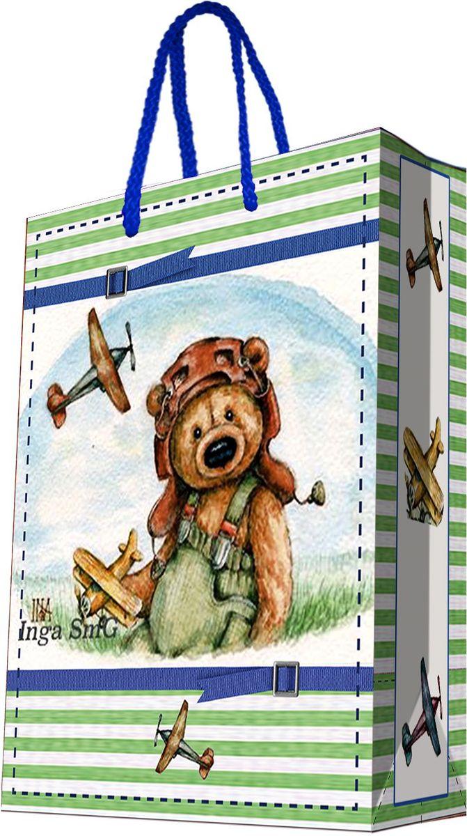 Пакет подарочный Magic Home Мишка-летчик, 33 х 45,7 х 10,2 см44210Подарочный пакет Magic Home, изготовленный из плотной бумаги, станет незаменимым дополнением к выбранному подарку. Дно изделия укреплено картоном, который позволяет сохранить форму пакета и исключает возможность деформации дна под тяжестью подарка. Пакет выполнен с глянцевой ламинацией, что придает ему прочность, а изображению - яркость и насыщенность цветов. Для удобной переноски имеются две ручки в виде шнурков. Подарок, преподнесенный в оригинальной упаковке, всегда будет самым эффектным и запоминающимся. Окружите близких людей вниманием и заботой, вручив презент в нарядном, праздничном оформлении. Плотность бумаги: 140 г/м2.