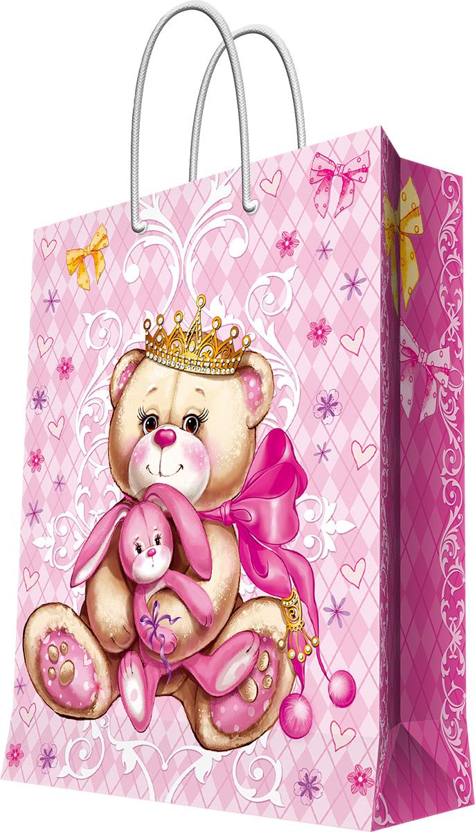 Пакет подарочный Magic Home Принцесса-медведица, 33 х 45,7 х 10,2 см44212Подарочный пакет Magic Home, изготовленный из плотной бумаги, станет незаменимым дополнением к выбранному подарку. Дно изделия укреплено картоном, который позволяет сохранить форму пакета и исключает возможность деформации дна под тяжестью подарка. Пакет выполнен с глянцевой ламинацией, что придает ему прочность, а изображению - яркость и насыщенность цветов. Для удобной переноски имеются две ручки в виде шнурков. Подарок, преподнесенный в оригинальной упаковке, всегда будет самым эффектным и запоминающимся. Окружите близких людей вниманием и заботой, вручив презент в нарядном, праздничном оформлении. Плотность бумаги: 140 г/м2.
