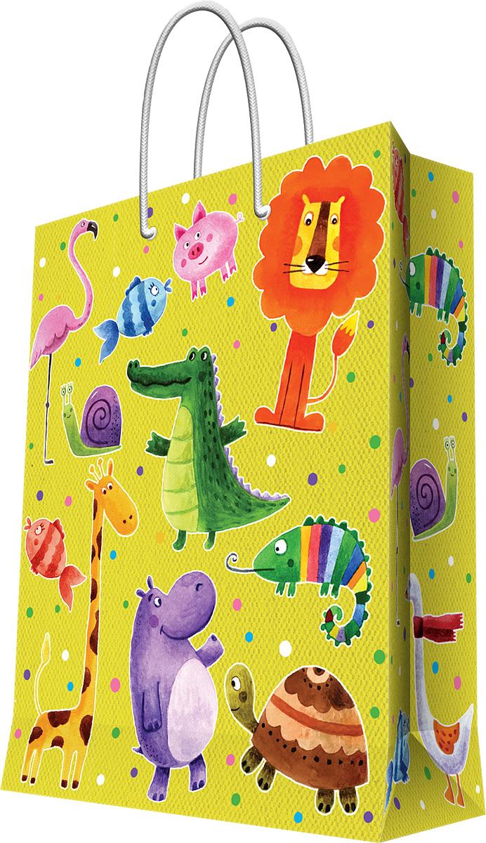Пакет подарочный Magic Home Веселые зверята, 40,6 х 48,9 х 19 см44214Подарочный пакет Magic Home, изготовленный из плотной бумаги, станет незаменимым дополнением к выбранному подарку. Дно изделия укреплено картоном, который позволяет сохранить форму пакета и исключает возможность деформации дна под тяжестью подарка. Пакет выполнен с глянцевой ламинацией, что придает ему прочность, а изображению - яркость и насыщенность цветов. Для удобной переноски имеются две ручки в виде шнурков. Подарок, преподнесенный в оригинальной упаковке, всегда будет самым эффектным и запоминающимся. Окружите близких людей вниманием и заботой, вручив презент в нарядном, праздничном оформлении. Плотность бумаги: 157 г/м2.