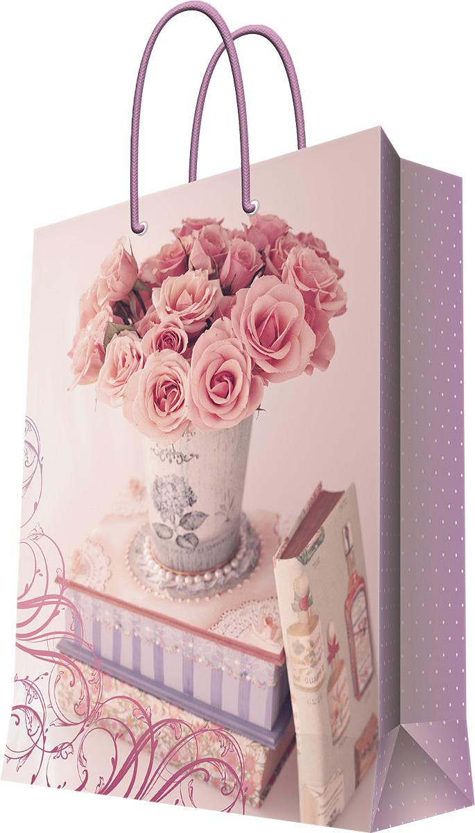 Пакет подарочный Magic Home Ваза с розами, 40,6 х 48,9 х 19 см44216Бумажный пакет для сувенирной продукции , с ламинацией, с шириной основания 40,6 см, плотность бумаги 157 г/м2
