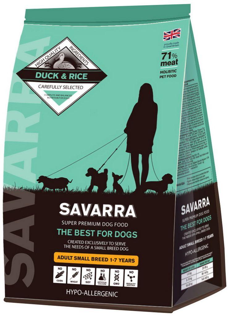 Корм сухой Savarra для взрослых собак мелких пород, с уткой и рисом, 1 кг5649020Сухой корм Savarra - это гипоаллергенный полнорационный корм для взрослых собак мелких пород. Утиное мясо является более богатым источником незаменимых аминокислот. Важно и то, что состав мяса утки содержит в два раза больше витамина А, чем любой другой вид мяса. Польза этого витамина, а значит, и польза мяса утки в том, что они помогают улучшить состояние кожи и обострить зрение. Питание для взрослых собак мелких пород полностью способно удовлетворить все потребности организма животного в питательных веществах, витаминах и минералах. Состав: cвежее мясо утки, дегидрированное мясо утки, овес, ячмень, коричневый рис, белый рис, жир индейки, дегидрированное мясо лосося, семена льна, дегидрированное яйцo, люцерна, натуральный ароматизатор, просо, горох, витамин А (ретинола ацетат), витамин D3 (холекальциферол), витамин Е (альфа-токоферола ацетат), аминокислотный хелат цинка гидрат, аминокислотный хелат железа гидрат, аминокислотный хелат марганца гидрат, аминокислотный...