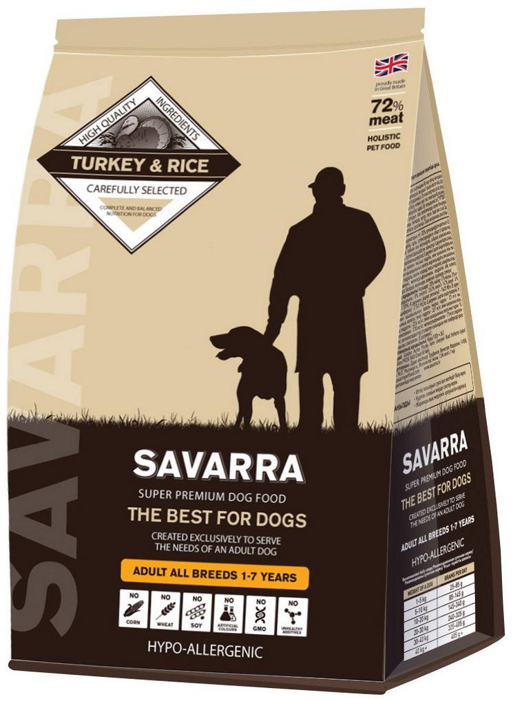 Корм сухой Savarra для взрослых собак, с индейкой и рисом, 3 кг5649041Сухой корм Savarra - это гипоаллергенный полнорационный корм для взрослых собак всех пород. Изготовлен на основе свежего мяса индейки, мяса наиболее диетического и нежного, обладающего прекрасной усвояемостью и содержанием питательных веществ. Совершенно очевидно, что польза индейки в том, что ее мясо содержит в большом количестве такие витамины, как А и Е. По содержанию такого вещества, как натрий индейка существенно опережает даже говядину и телятину. Польза индейки в том, что благодаря натрию с употреблением этого мяса происходит пополнение объемов плазмы в крови и обеспечиваются нормальные обменные процессы. Рацион Savarra содержит все необходимое для удовлетворения потребностей животного в питательных веществах, витаминах и минералах. Состав: свежее мясо индейки, дегидрированное мясо индейки, коричневый рис, ячмень, овес, дегидрированное мясо лосося, жир индейки, семена льна, натуральный ароматизатор, горох, мякоть свеклы, масло лосося, дегидрированное яйцо,...