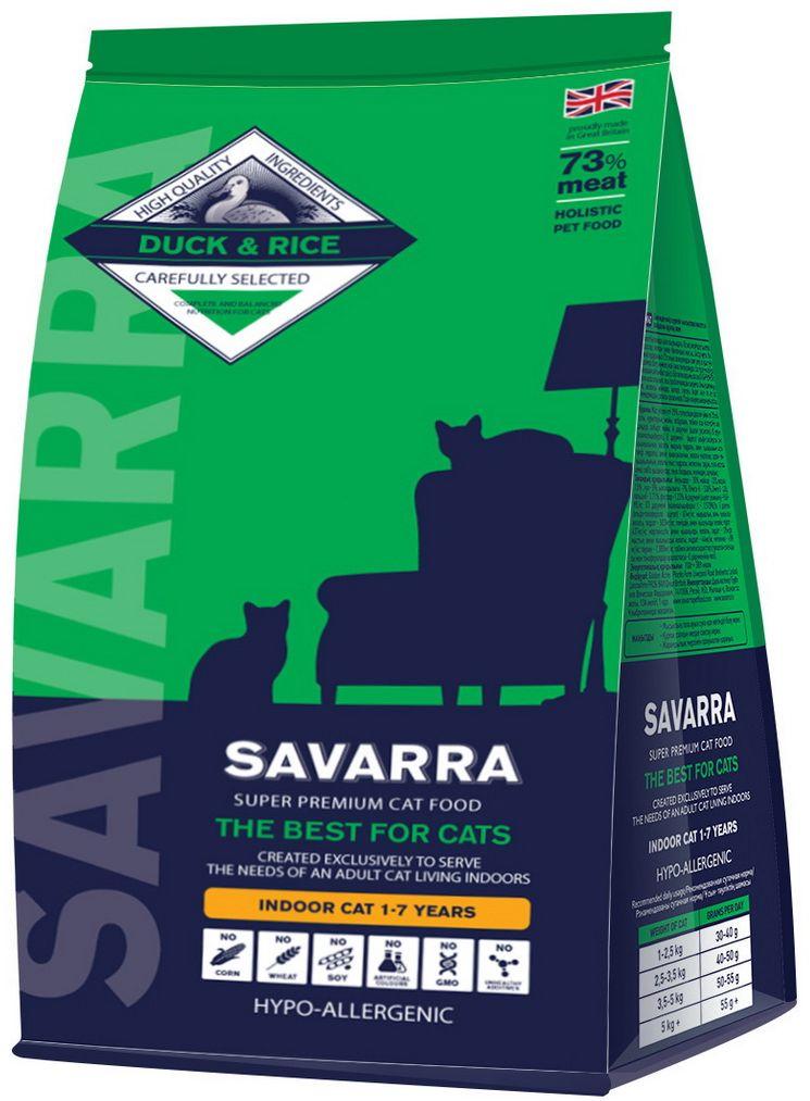Корм сухой Savarra для взрослых кошек, живущих в помещении, с уткой и рисом, 2 кг5649131Сухой корм Savarra - это гипоаллергенный полнорационный корм для взрослых кошек, живущих в помещении. Изготовлен на основе свежего мяса утки. Утиный жир содержит большое количество омега-3 жирных ненасыщенных кислот, являющихся настоящим лекарством для сердечно-сосудистой системы и улучшающих работу мозга. Кроме жирных кислот химический состав утиного мяса содержит большое количество разнообразных витаминов и минералов: витамины А, Е, К, все витамины группы В. Полезные свойства утиного мяса также в его насыщенности белком. Утиное мясо является более богатым источником незаменимых аминокислот. Важно и то, что состав мяса утки содержит в два раза больше витамина А, чем любой другой вид мяса. Польза этого витамина, а значит, и польза мяса утки в том, что они помогают улучшить состояние кожи и обострить зрение. Особые добавки в виде овощей, ягод и фруктов, снабжают организм необходимыми микроэлементами, заботясь о здоровье кошки. Состав: свежее мясо утки, дегидрированное...