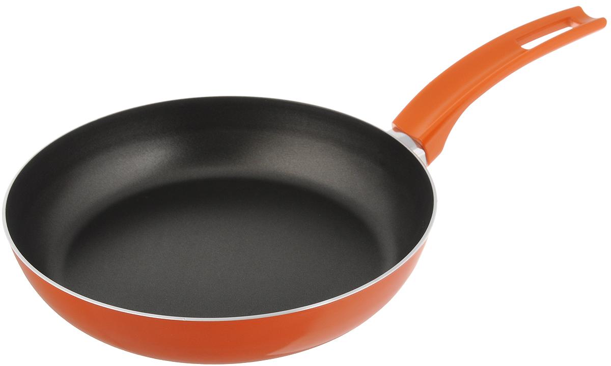 Сковорода Scovo Citrus Orange, с антипригарным покрытием. Диаметр 22 смRT-002OСковорода Scovo Citrus Orange выполнена из алюминия и имеет антипригарное покрытие. Покрытие исключает прилипание и пригорание пищи к поверхности посуды, обеспечивает легкость мытья посуды, исключает необходимость использования большого количества масла, что способствует приготовлению здоровой пищи с пониженной калорийностью. Для сохранения антипригарных свойств сковороды: - сковорода допускает применение деревянных и пластиковых аксессуаров - ложек, вилок, лопаток. Не используйте металлические аксессуары; - не допускайте сильного перегрева изделия без продуктов или воды - это может повредить антипригарное покрытие; - не допускайте приготовления или хранения в сковороде кислотных или щелочных растворов; - изделие не рекомендуется использовать в духовом шкафу. Сковорода оснащена пластиковой ручкой, благодаря чему она удобно уместится в руке и не выскользнет. Сковорода подходит для газовых, электрических и ...