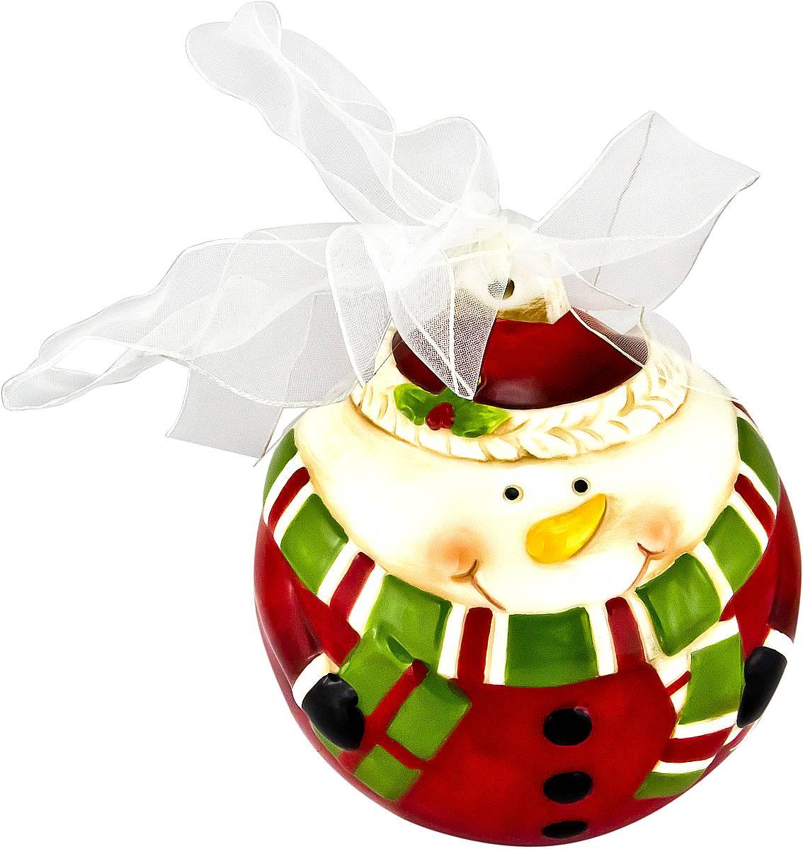 Украшение новогоднее подвесное Mister Christmas Снеговик, длина 13,5 смFD-01Новогоднее подвесное украшение Mister Christmas Снеговик прекрасно подойдет для праздничного декора новогодней ели. Украшение выполнено из керамики. Для удобного размещения на елке предусмотрена петелька в виде ленточки. Елочная игрушка - символ Нового года. Она несет в себе волшебство и красоту праздника. Создайте в своем доме атмосферу веселья и радости, украшая новогоднюю елку нарядными игрушками, которые будут из года в год накапливать теплоту воспоминаний.
